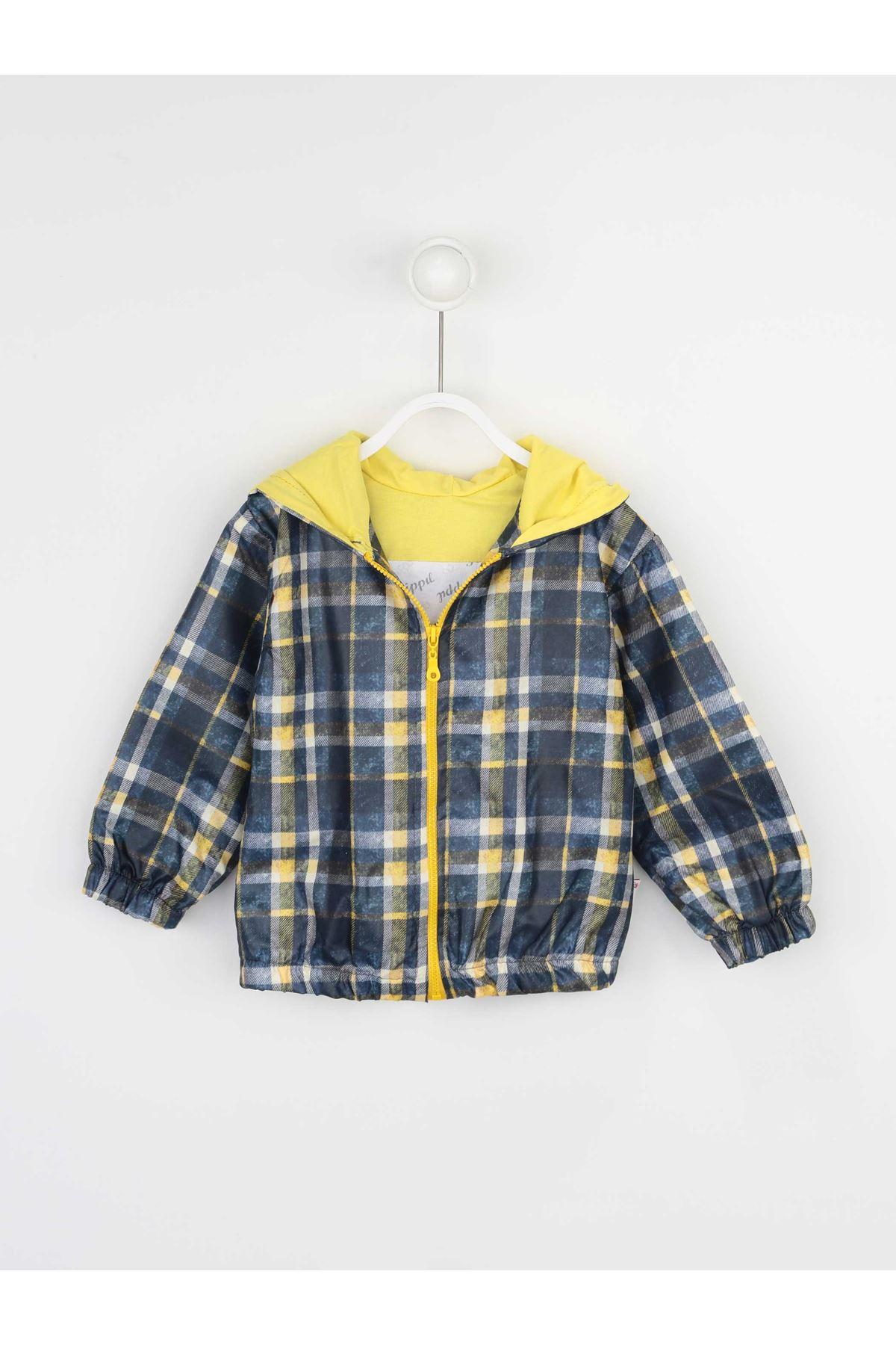 Sarı Erkek Çocuk Kapüşonlu Yağmurluk İnce Mont