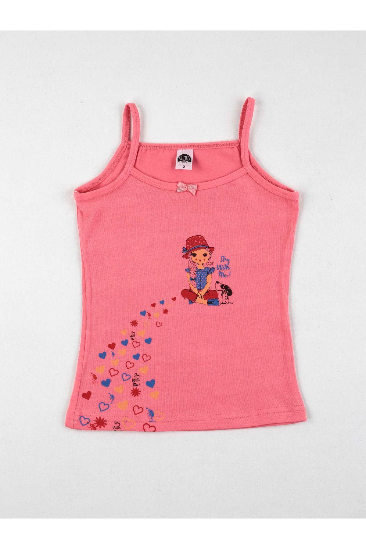 Renkli Baskılı Kız Çocuk 6 lı İp Askılı Atlet