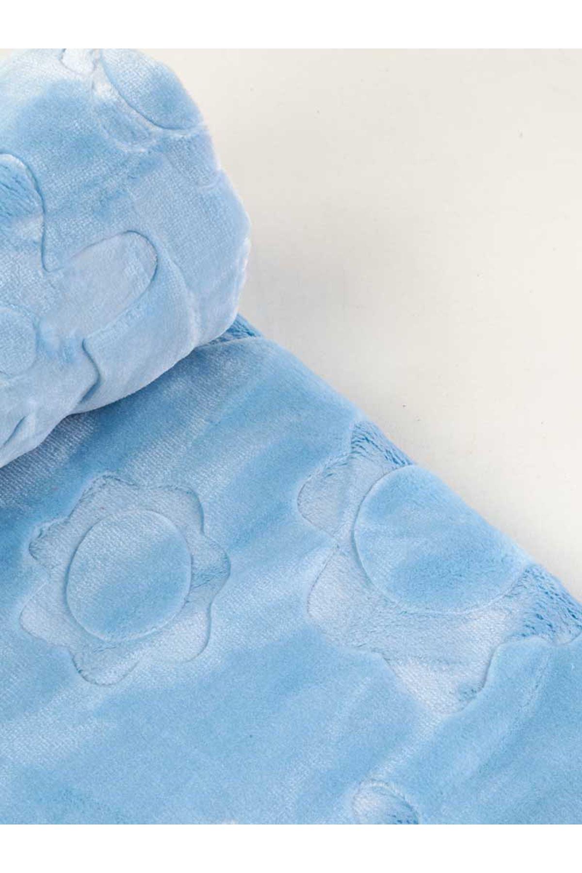 Mavi Peluş 120x100 cm Erkek Bebek Battaniye