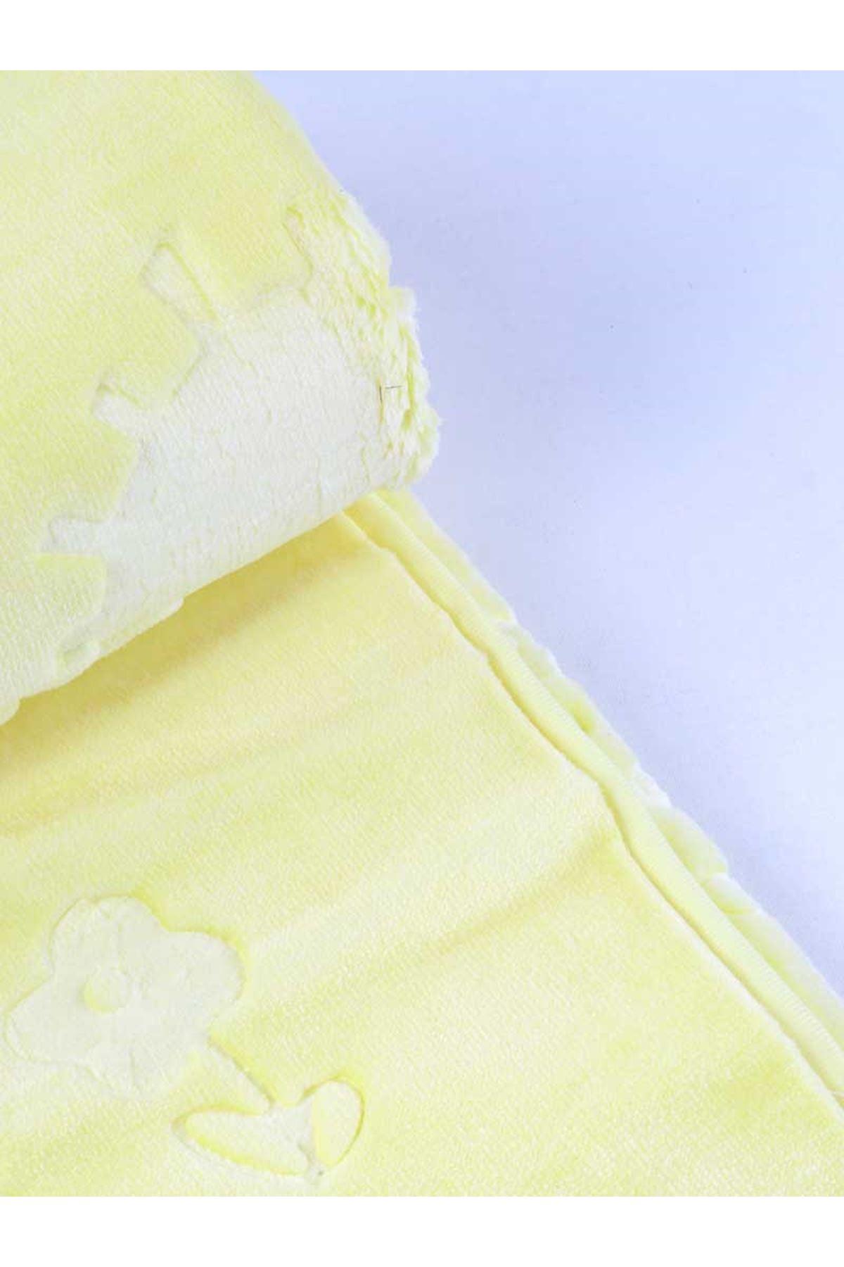 Sarı Peluş 120x100 cm Bebek Battaniyesi