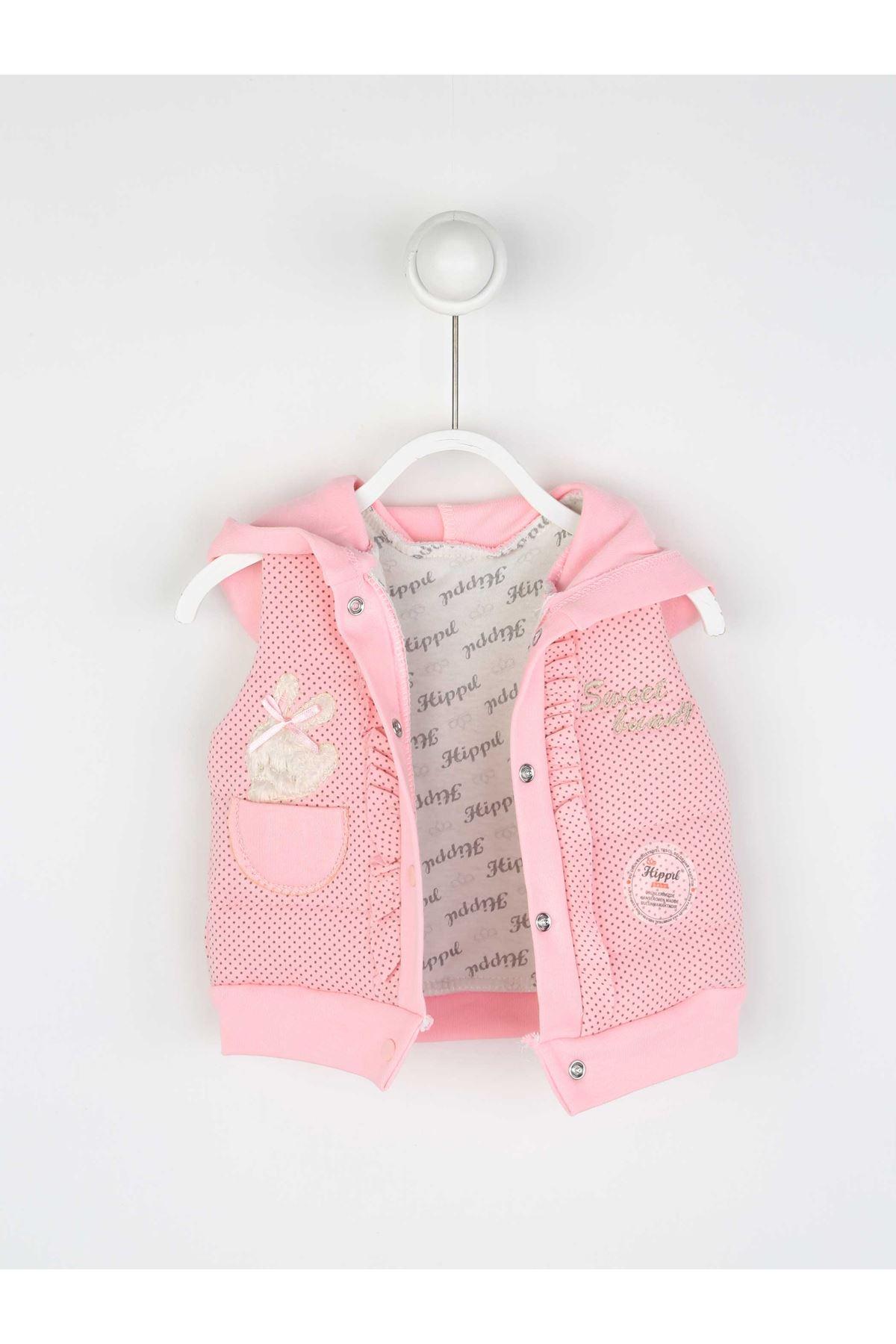 Pembe Mervsimlik Kız Bebek Yelekli Takım