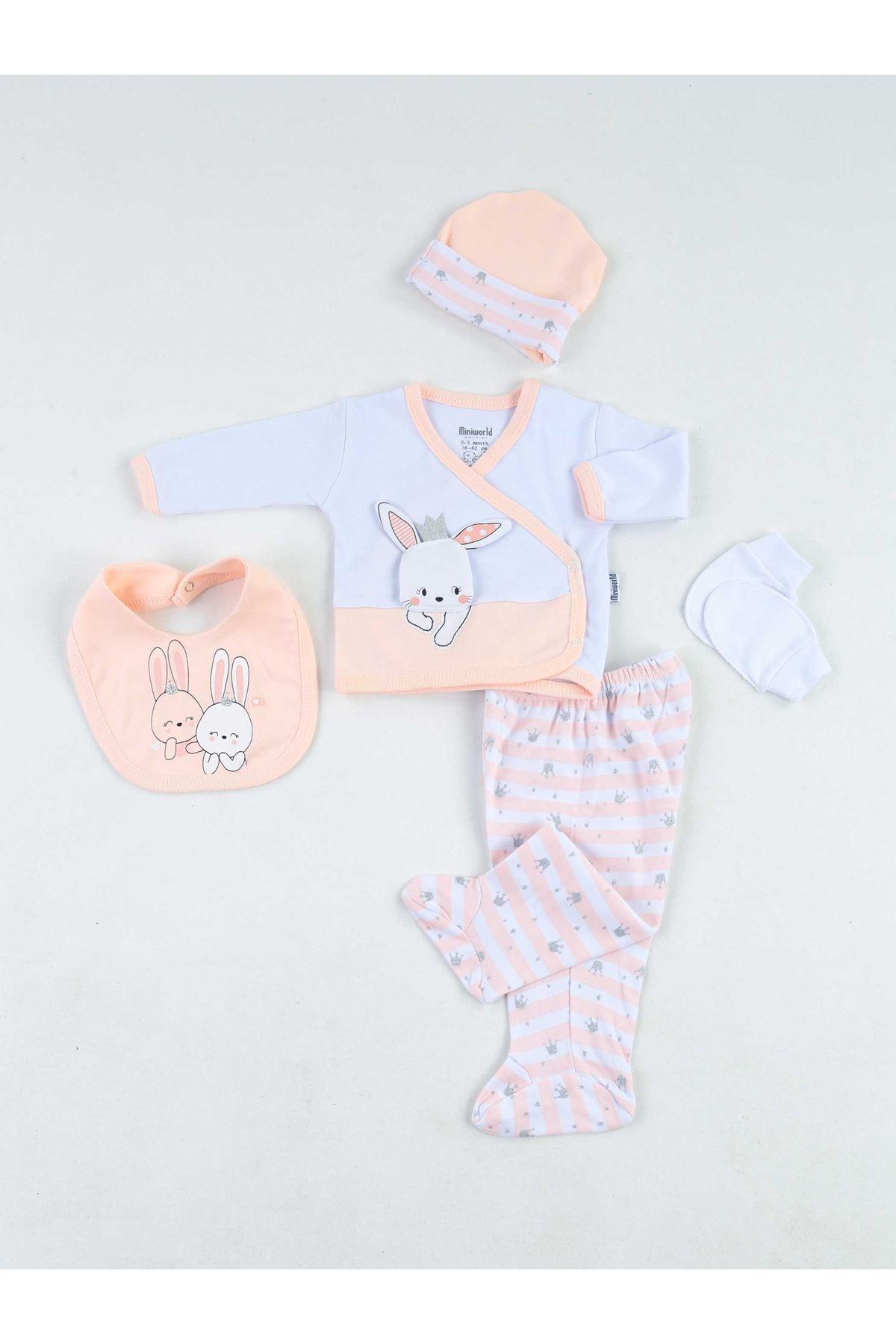 Powder Newborn Baby Girl 5 Piece Hospital Output