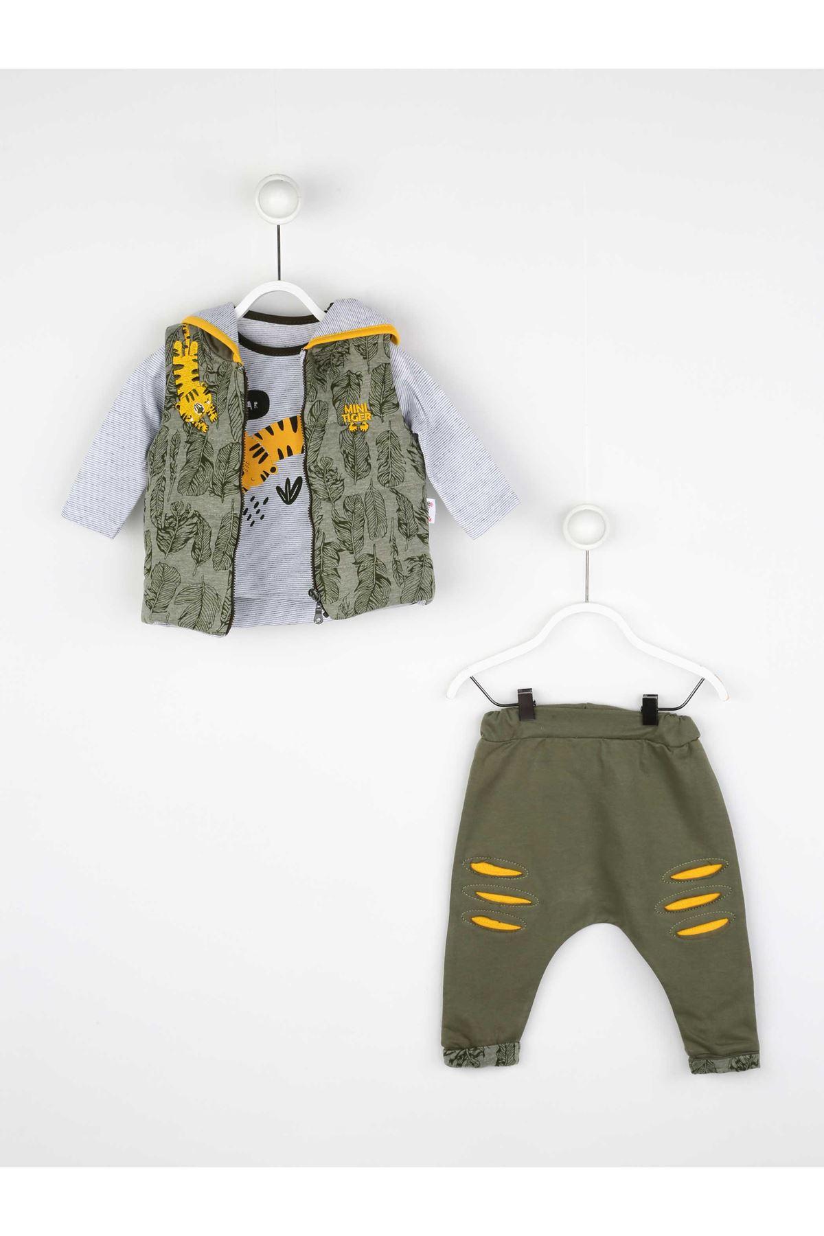 Yeşil Mevsimlik Erkek Bebek Yelekli Takım