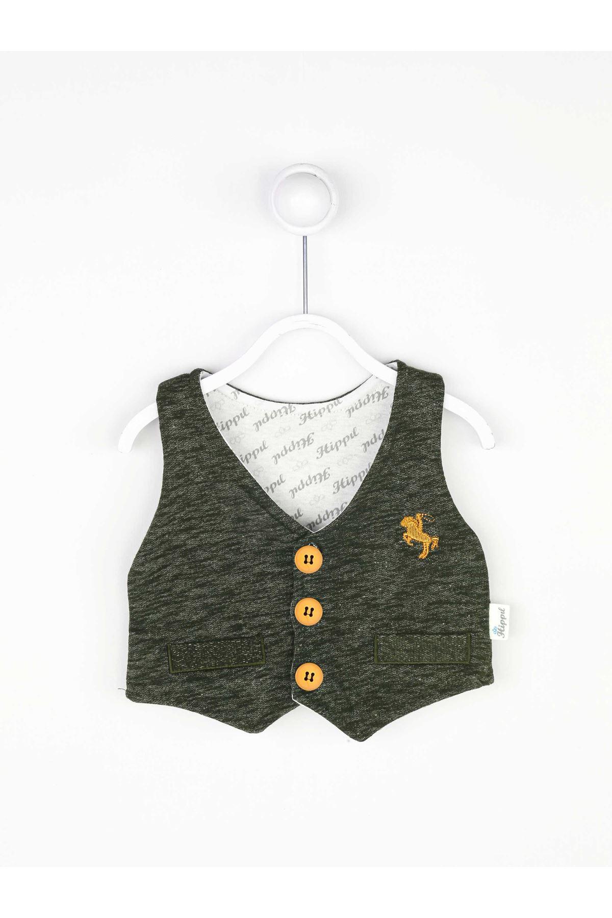 Yeşil Mevsimlik Papyonlu Erkek Bebek 3 lü Takım