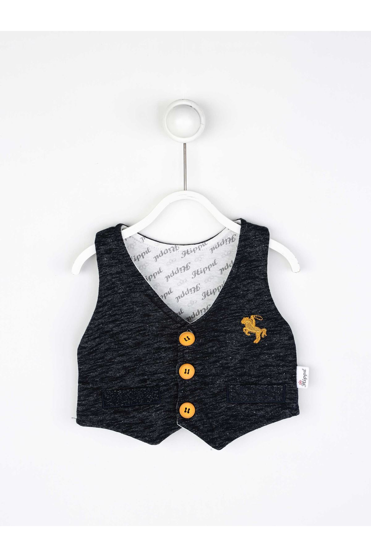 Lacivert Mevsimlik Papyonlu Erkek Bebek 3 lü Takım