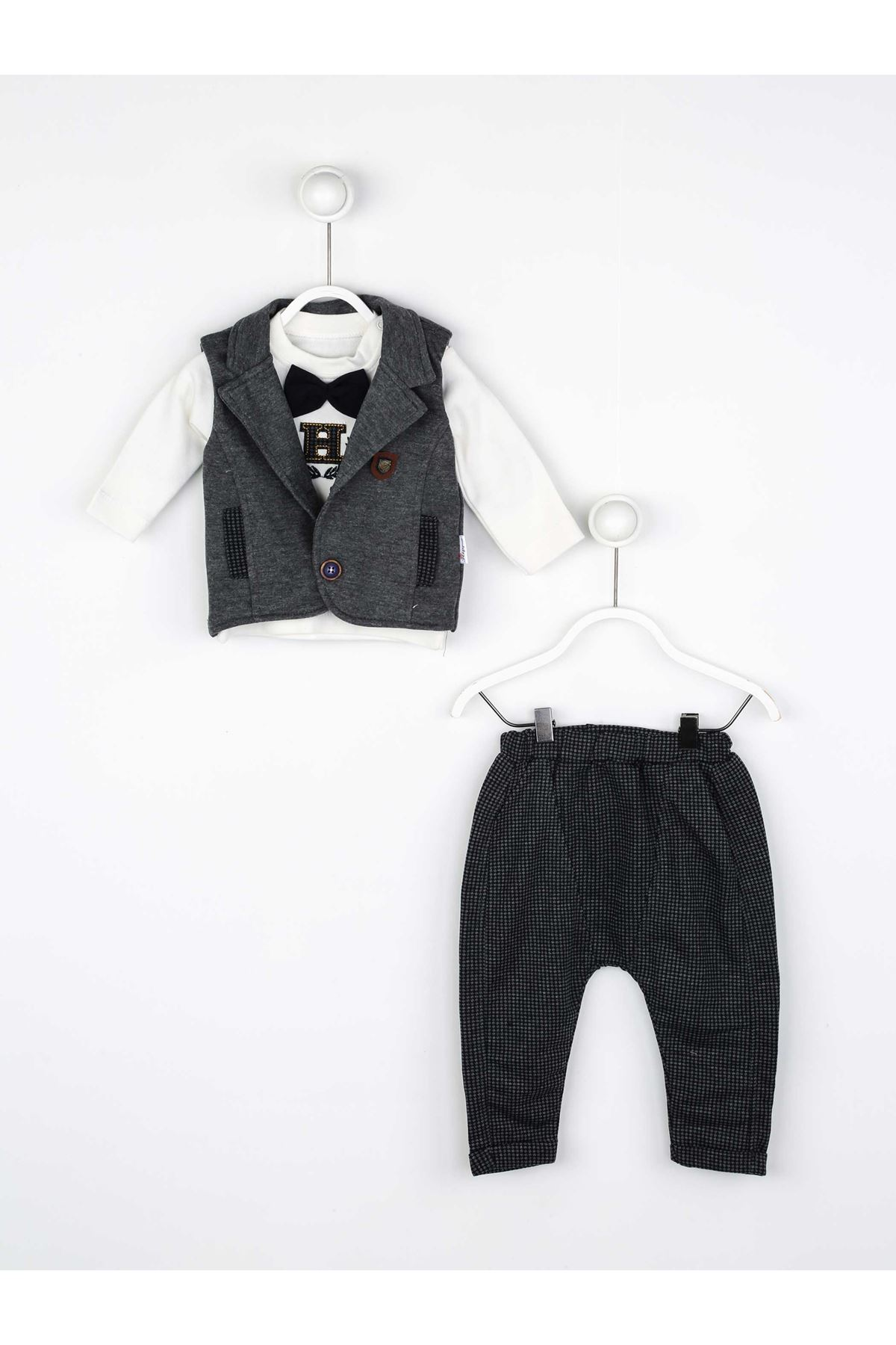 Gray Seasonal Papyonlu Male Baby 3 PCs Set