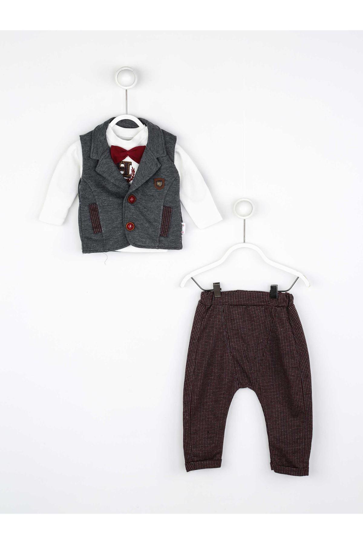 Borda Mevsimlik Papyonlu Erkek Bebek 3 lü Takım