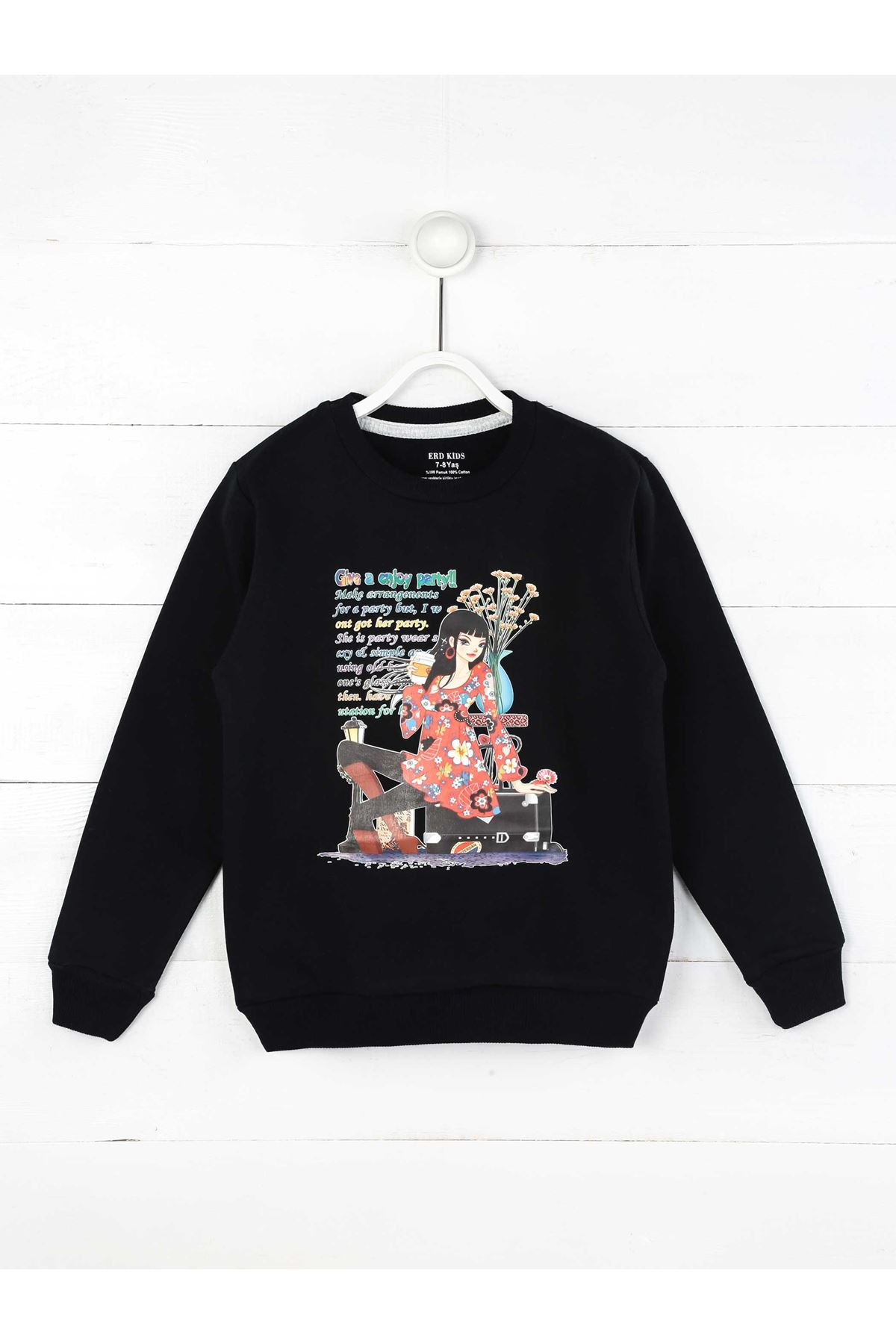 Dark Navy Blue Seasonal Girl Child Sweatshirt