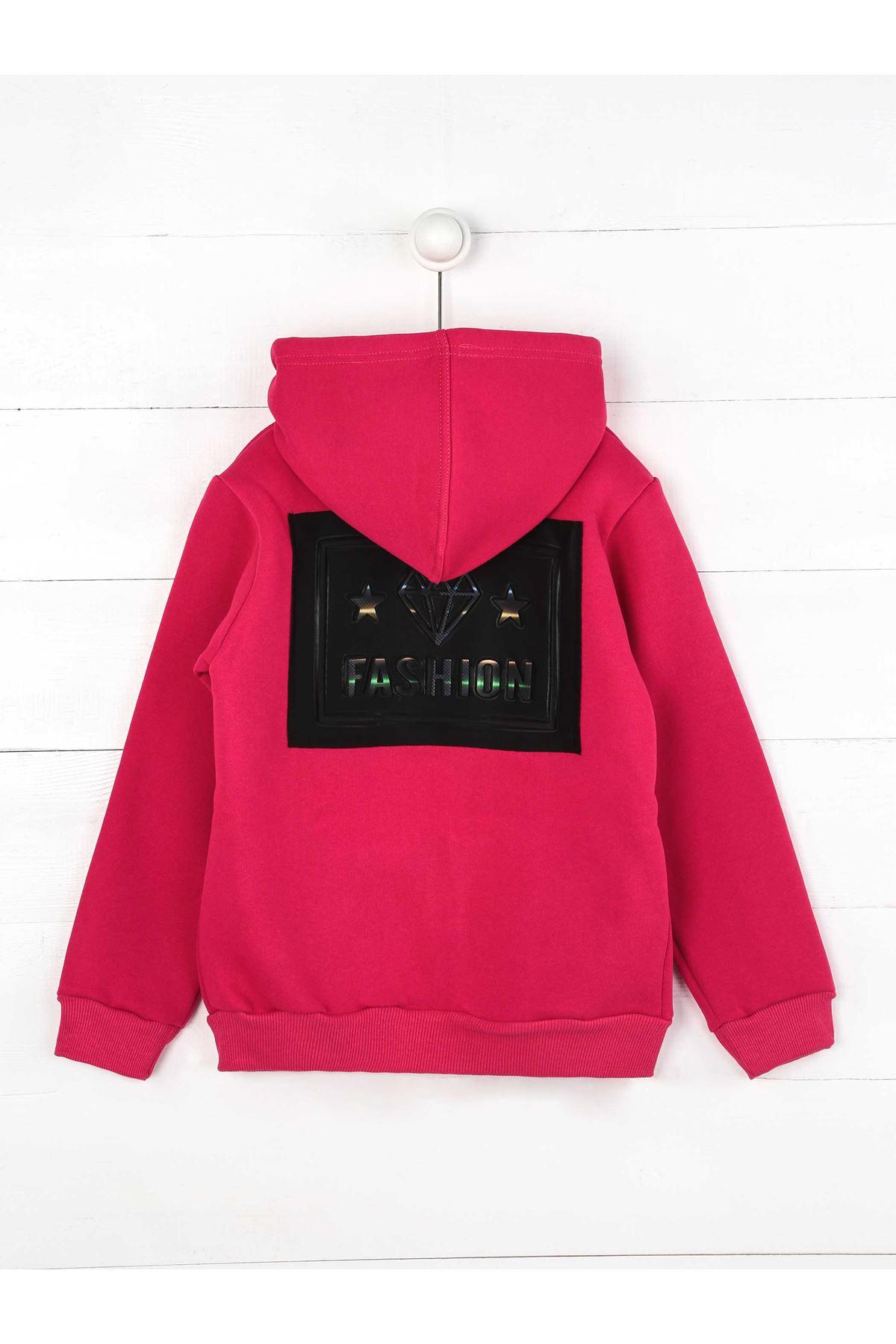 Mürdüm Kışlık Kapüşonlu  Kız Çocuk Sweatshirt