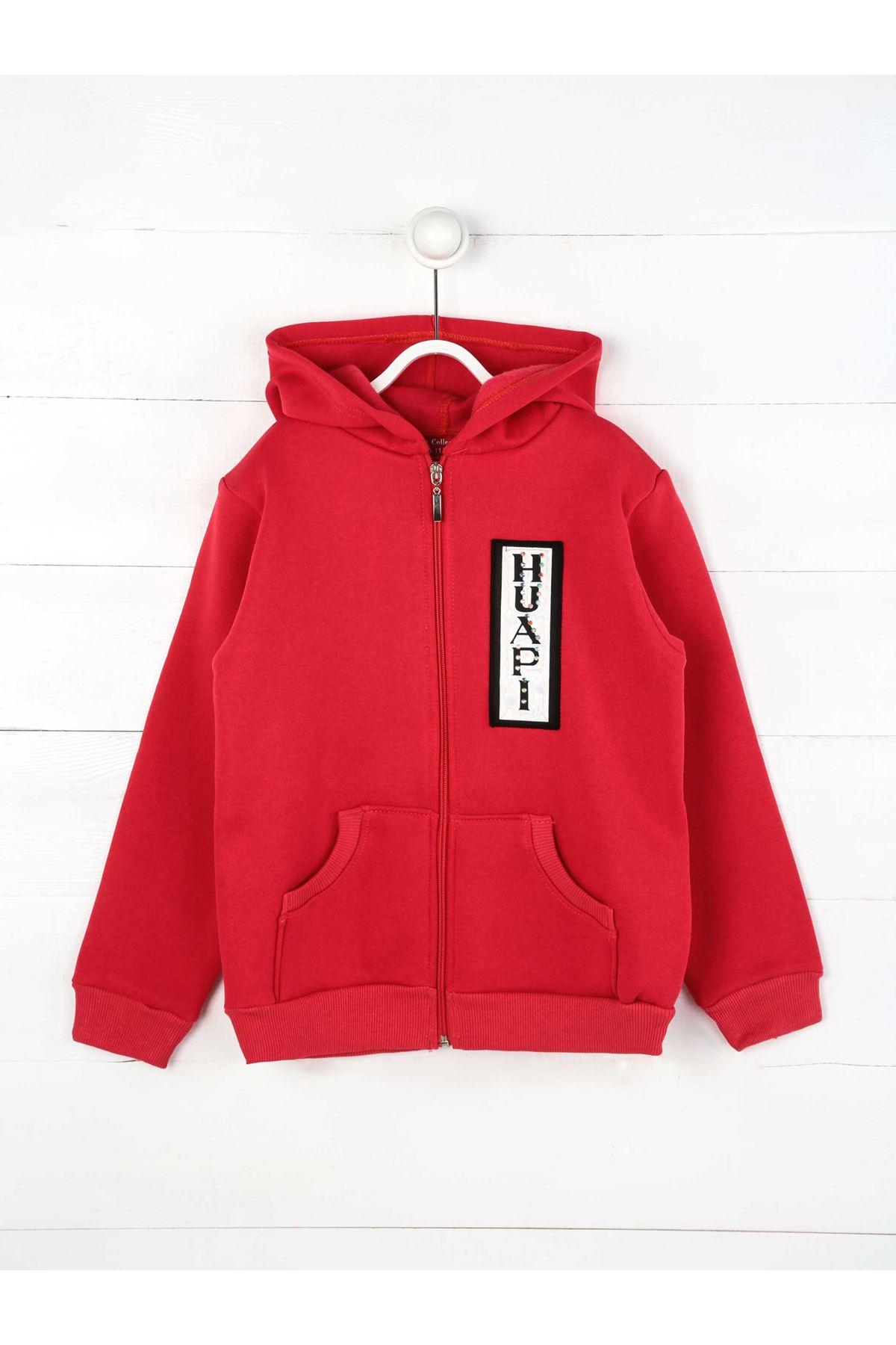 Fuşya Kışlık Kapüşonlu  Kız Çocuk Sweatshirt