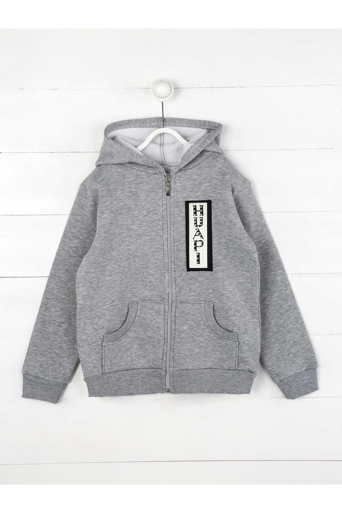 Gri Kışlık Kapüşonlu  Kız Çocuk Sweatshirt