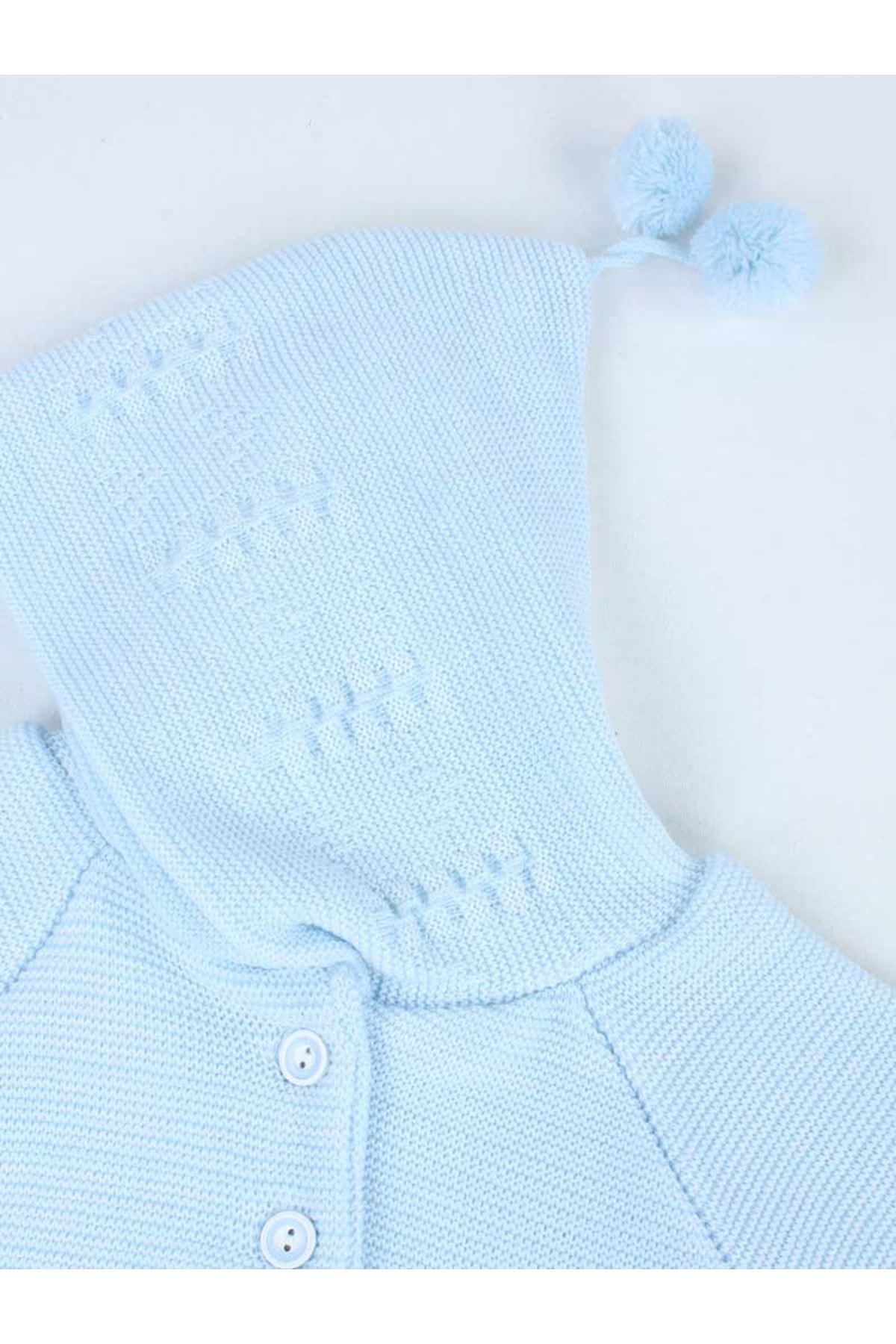 Mavi Triko Örme Kapüşonlu Bebek Hırka