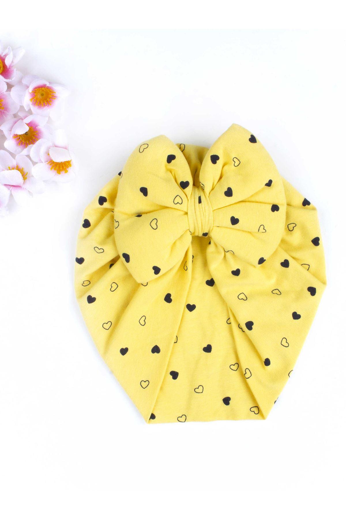 Sarı Fiyonklu Kız Bebek Bone