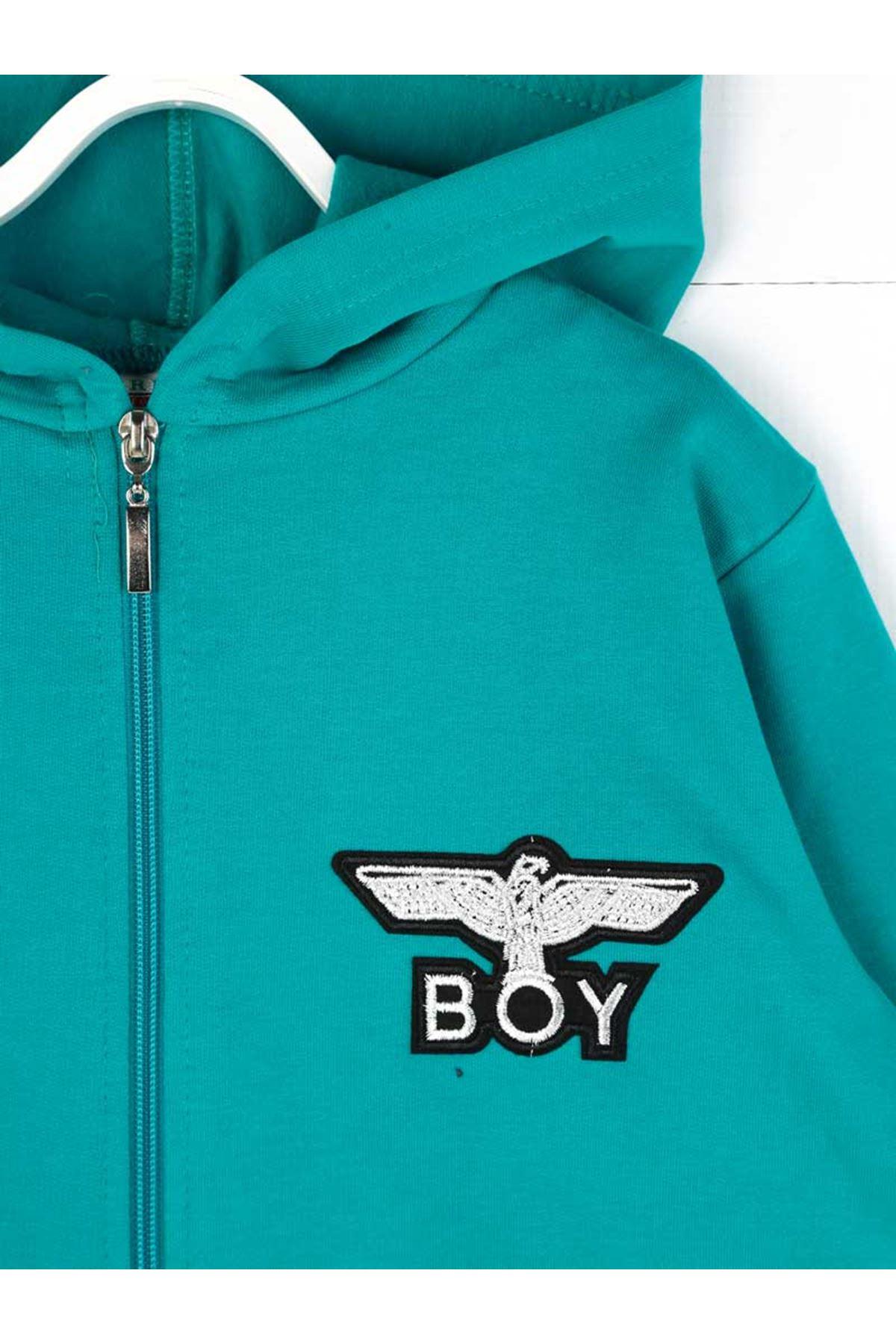 Petrol Yeşili Mevsimlik Kapüşonlu Erkek Çocuk Sweatshirt
