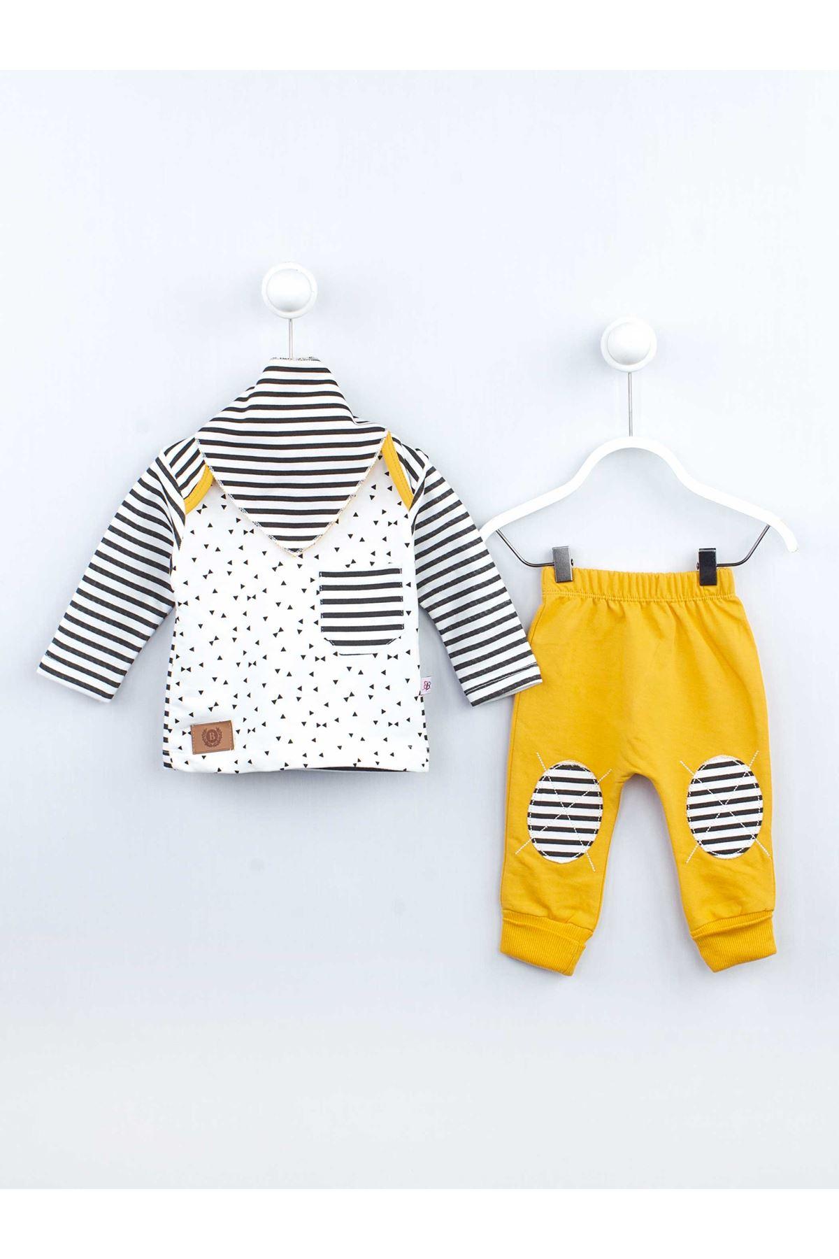 Sarı Mevsimlik Erkek Bebek 3 lü Takım