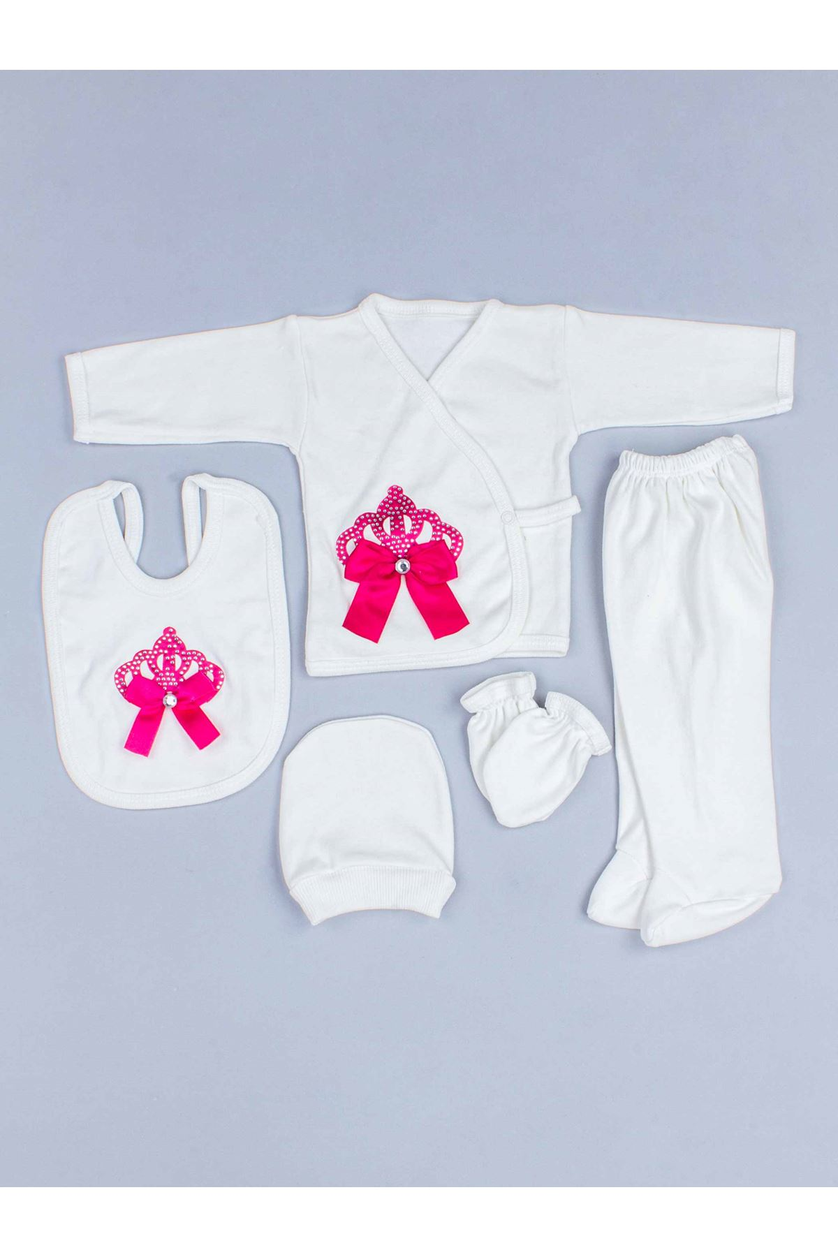 Fuchsia Baby Rompers Girl Boy Newborn Clothes 5pcs Set King Queen Clothing Antiallergic Cotton Babie Types Hospital Outlet Types