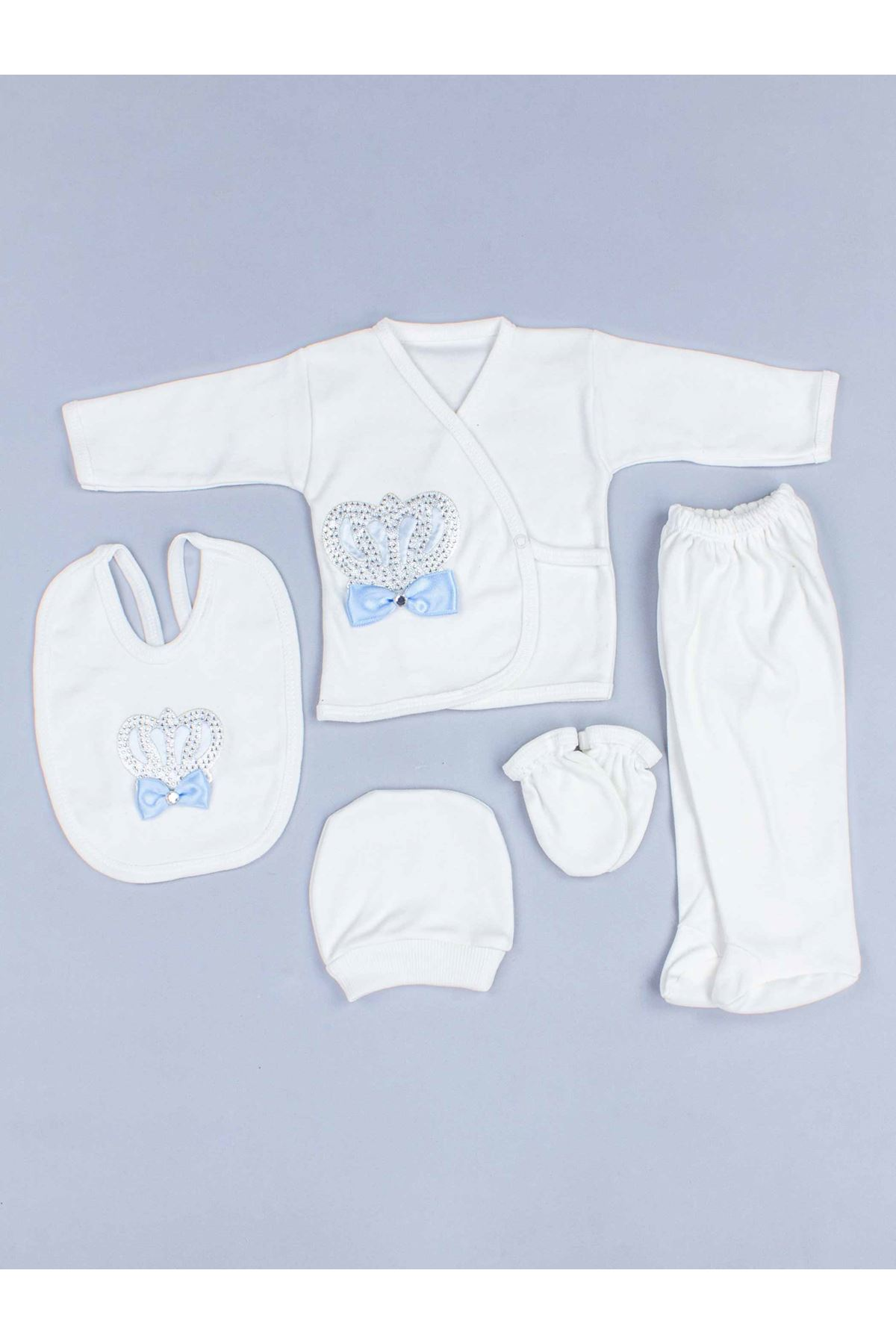 Mavi Kral Taçlı Erkek Bebek 5 li Hastane Çıkışı