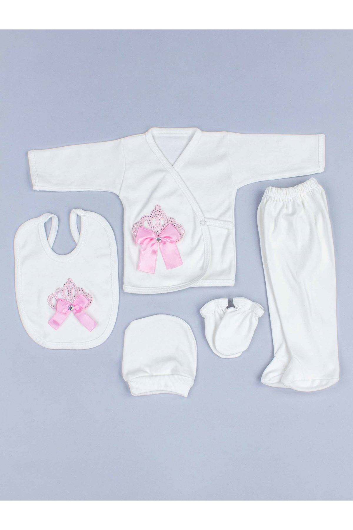Pink Baby Rompers Girl Boy Newborn Clothes 5pcs Set King Queen Clothing Antiallergic Cotton Babies Types Hospital Outlet Types