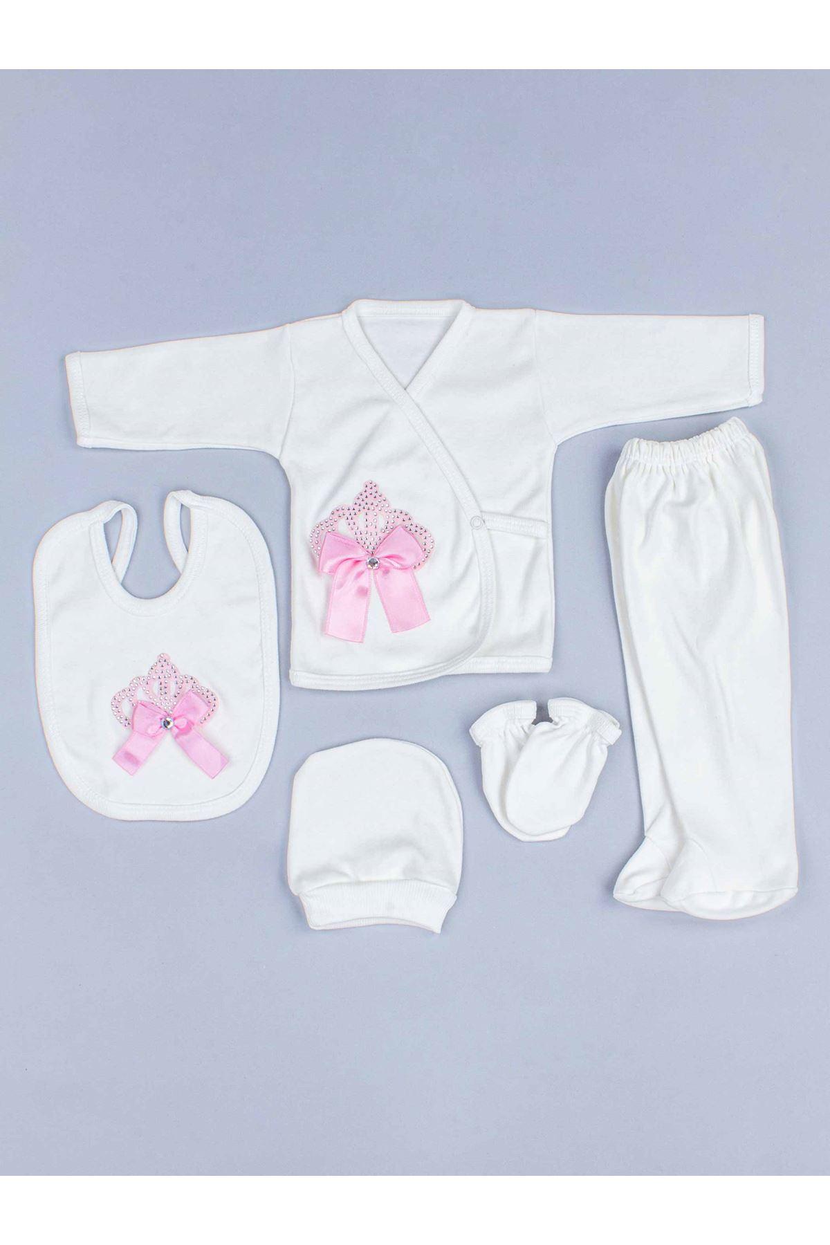 Pembe Kraliçe Taçlı Kız Bebek 5 li Hastane Çıkışı