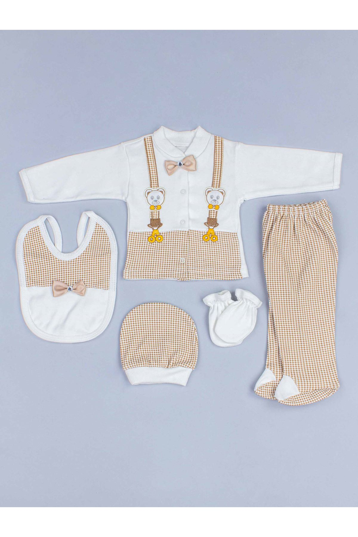 Newborn Baby Boy Brown 5 piece suit set cotton Gentleman Hospital Outlet daily casual Babies clothes style fashion models
