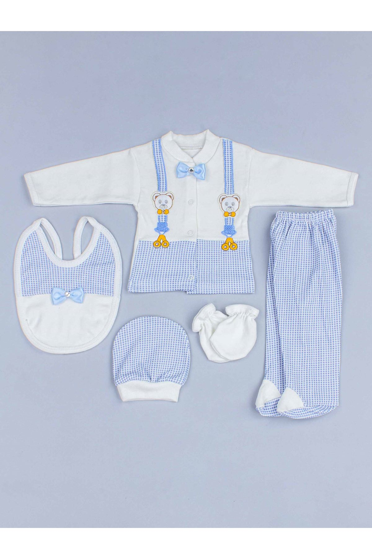 Mavi Erkek Bebek 5 li Hastane Çıkışı