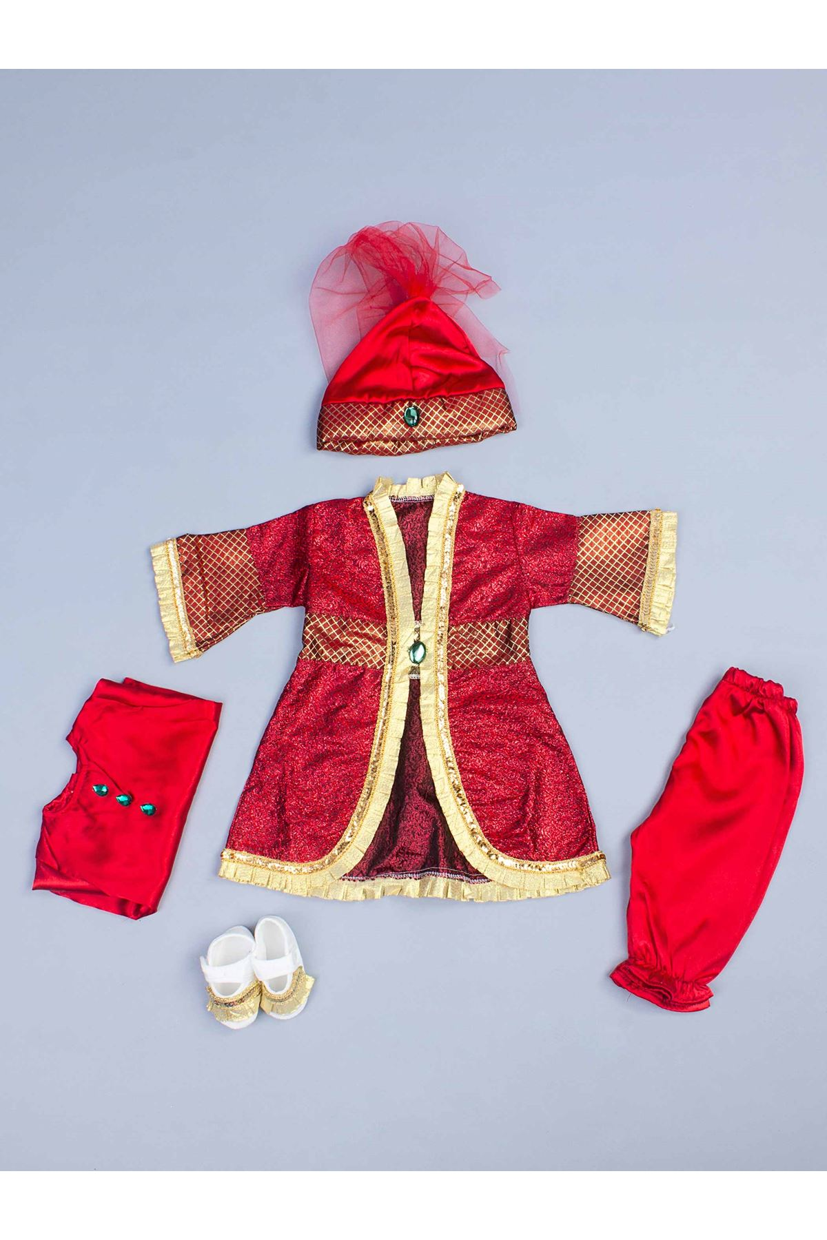 Red Baby Girl Suit Jumpsuit Ottoman Vintage Dolls 5 Piece set Special occasions Sultan Hurrem Suit Girls Baby Models