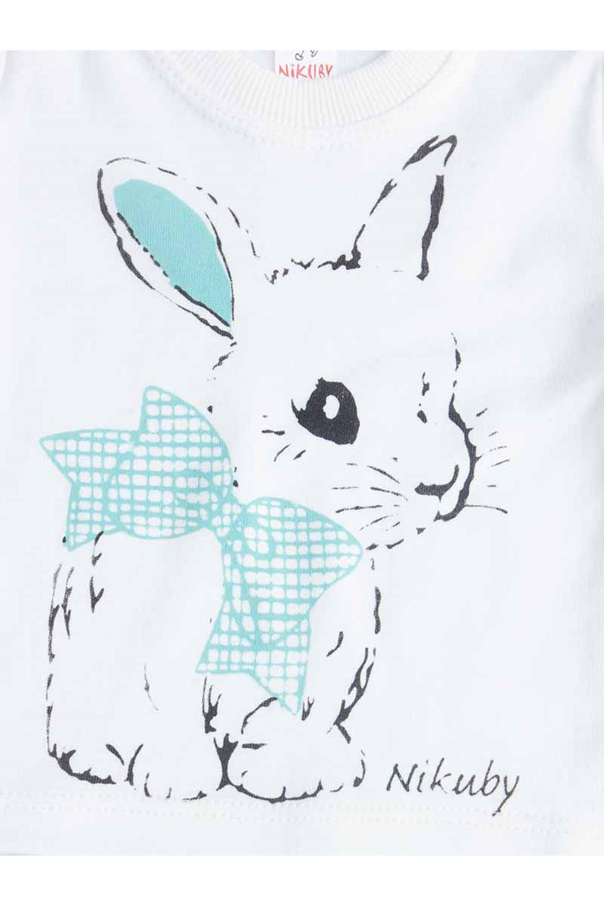 Green Tavşanlı Baby Girl Pajamas set