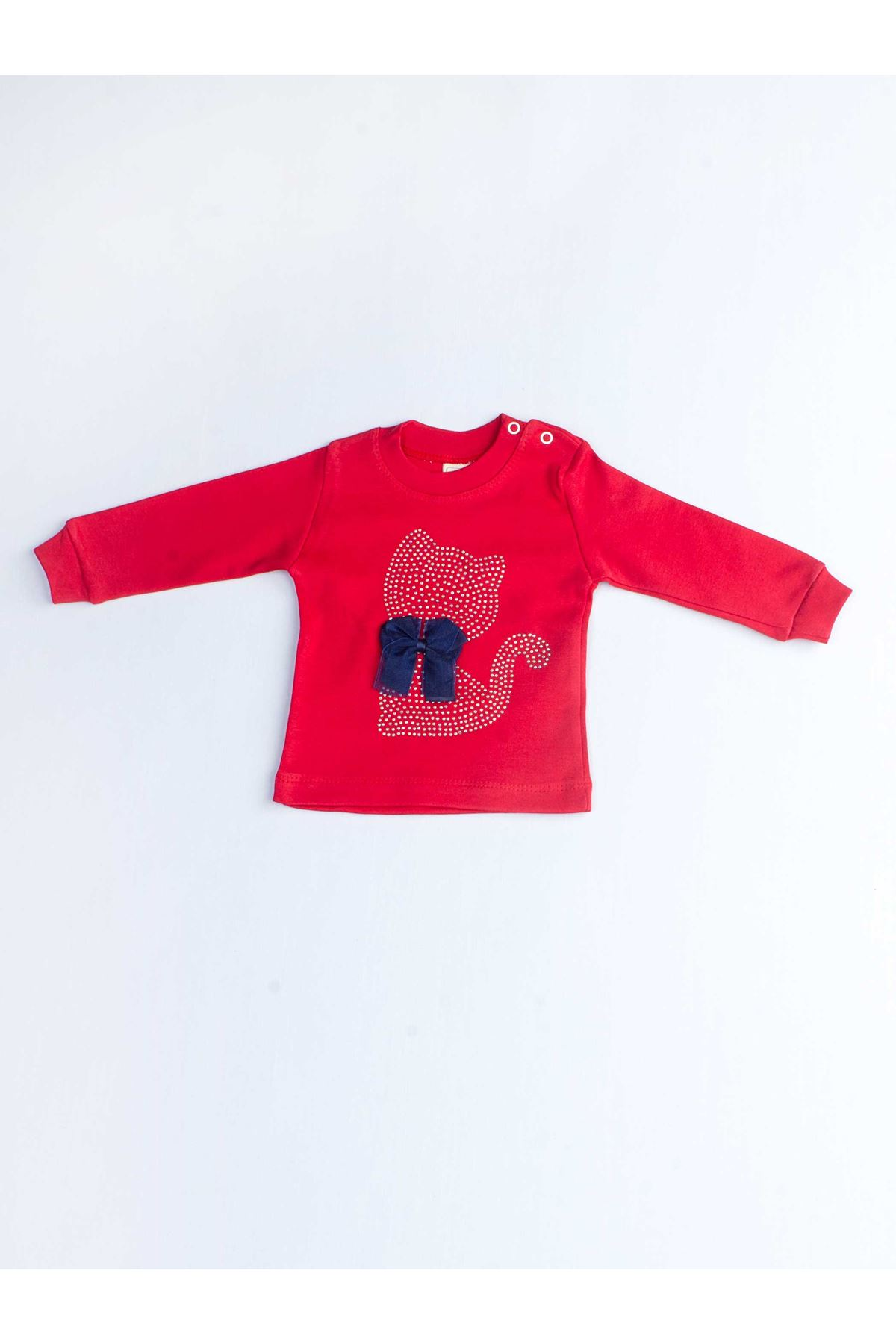 Red Baby Girl Cat Vetch 2 Piece Set Tracksuit Bottom Wear Top Outfit Cotton Casual Casual Outfit Models