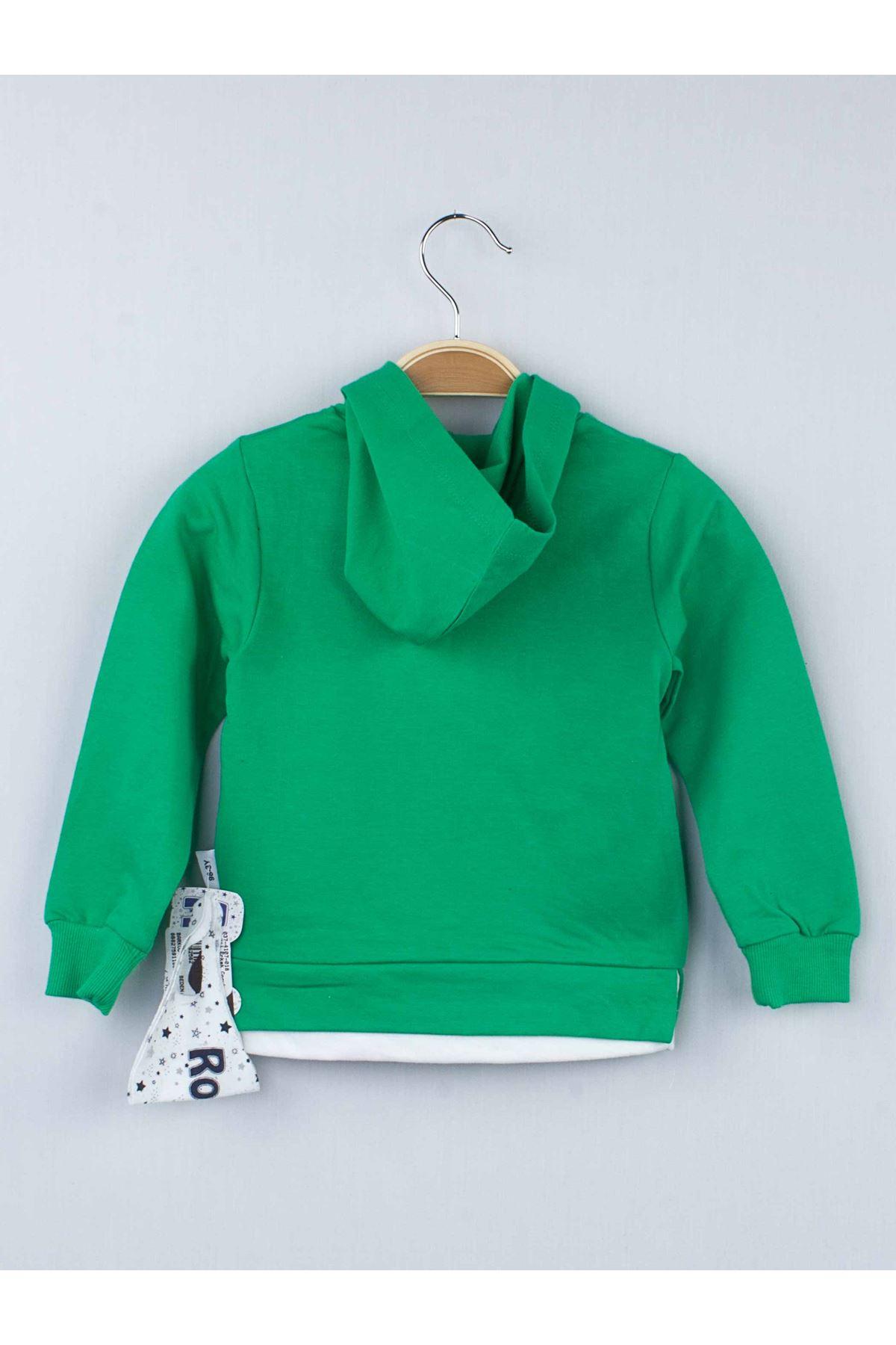 Yeşil Erkek Çocuk Kapüşonlu Eşofman Takımı