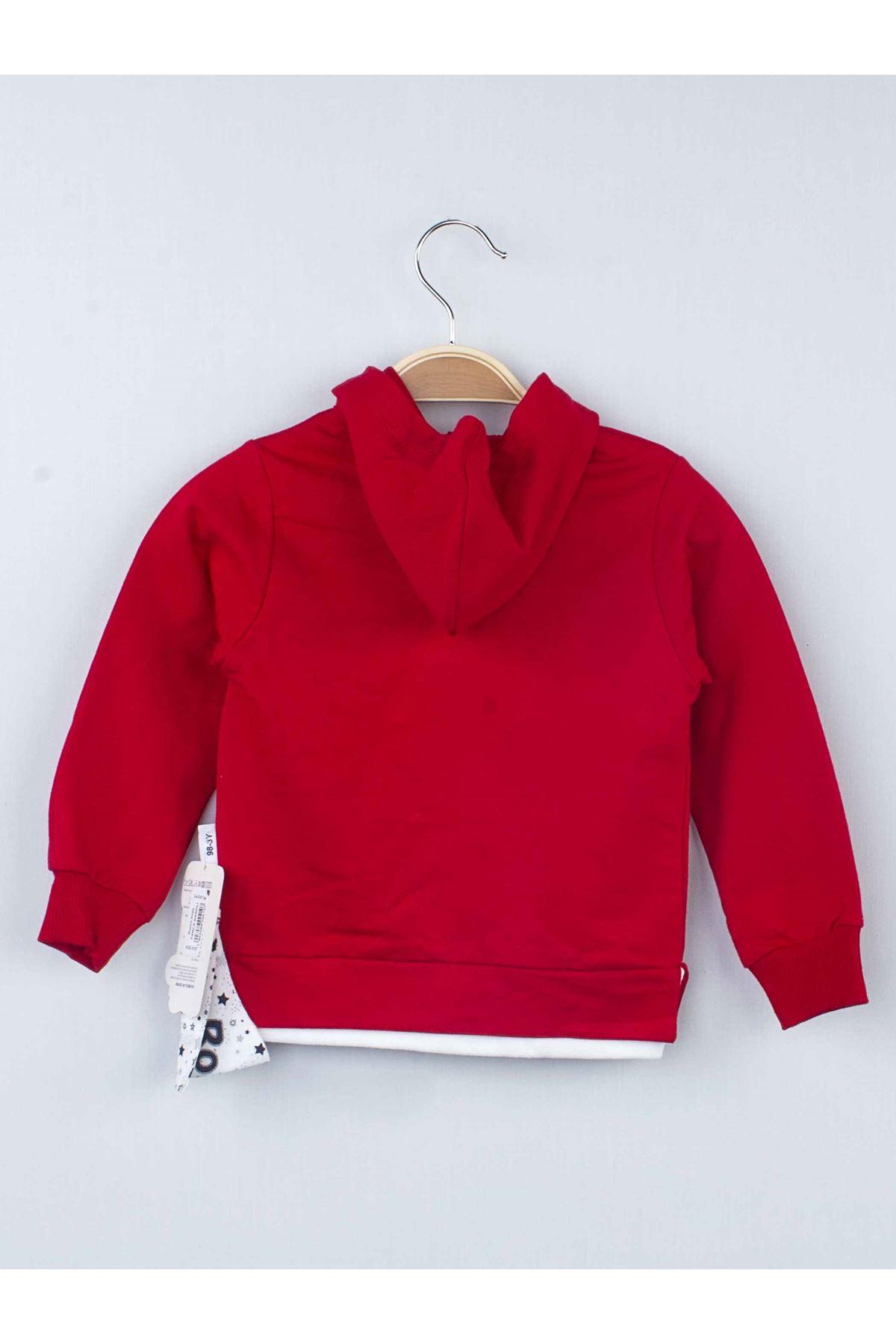 Kırmızı Erkek Çocuk Kapüşonlu Eşofman Takımı