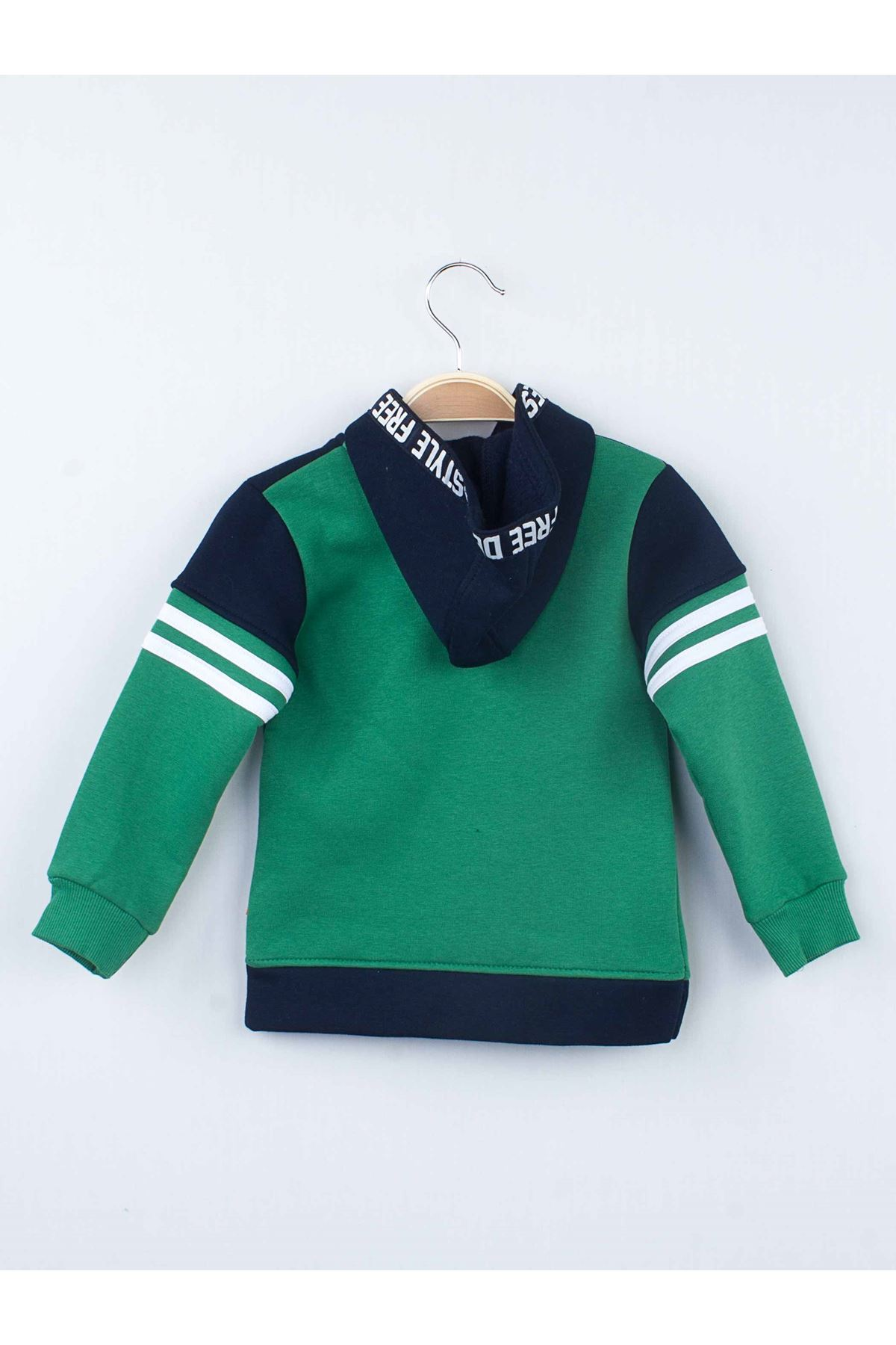 Yeşil Kışılık Erkek Çocuk Kapüşonlu Eşofman Takımı