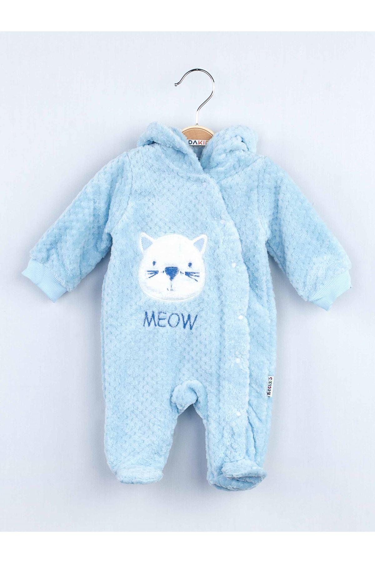 Mavi Peluş Erkek Bebek Kapüşonlu Tulum
