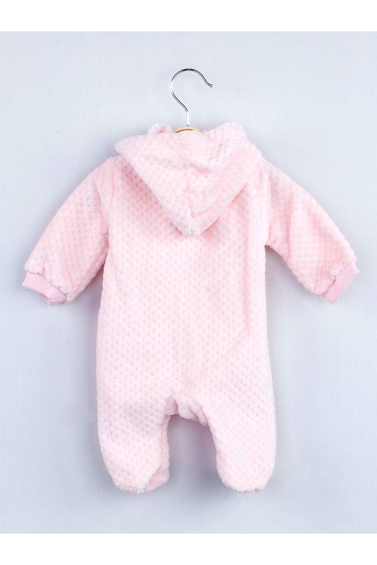 Pembe Peluş Kız Bebek Kapüşonlu Tulum