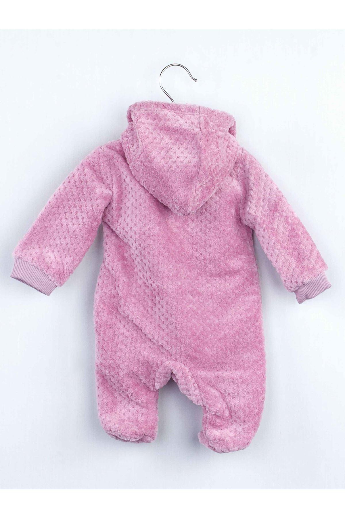 Lila Peluş Kız Bebek Kapüşonlu Tulum