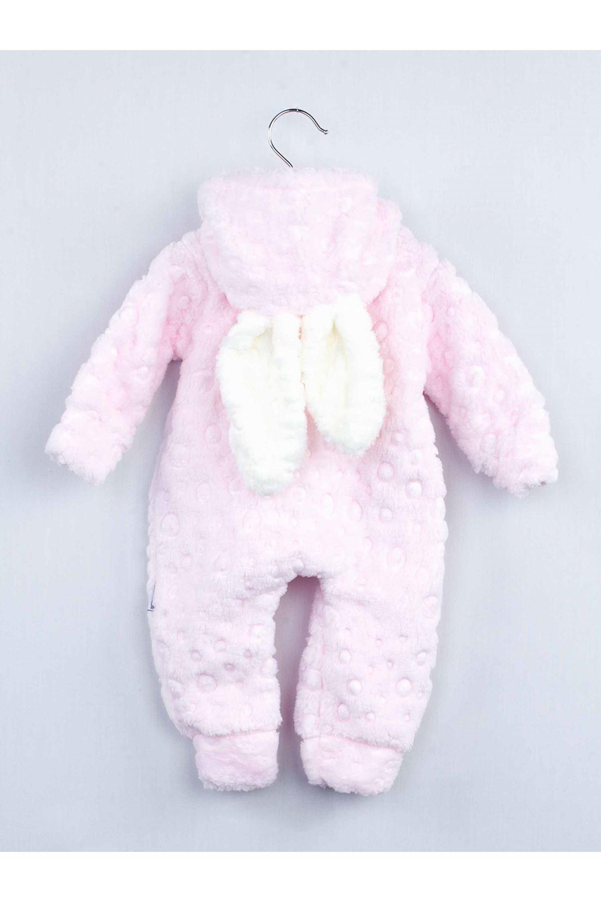 Pembe Peluş Uykucu Bulut Kız Bebek Kapüşonlu Kulaklı Tulum