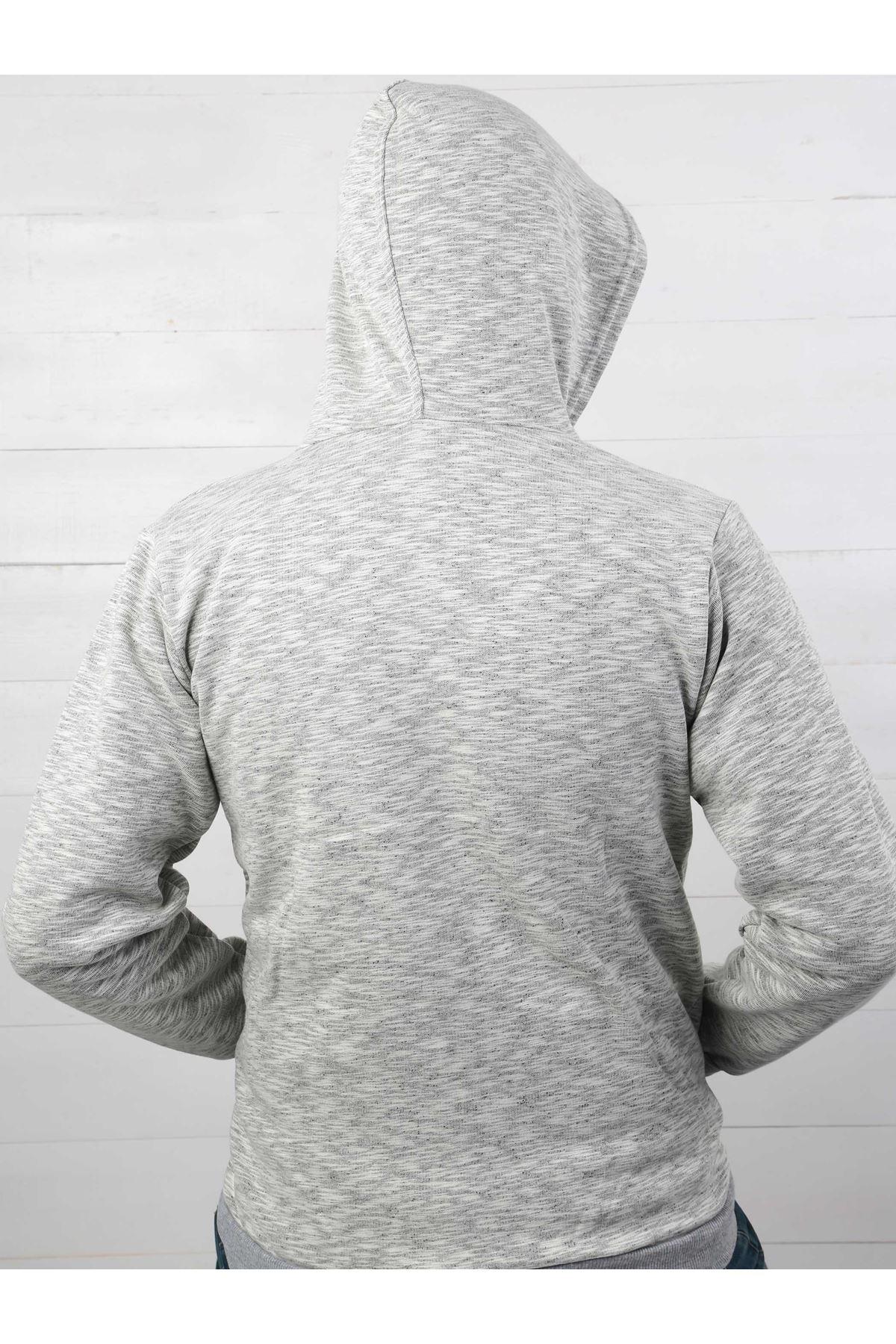 Gri Kışlık Kapüşonlu Fermuarlı Erkek Ceket