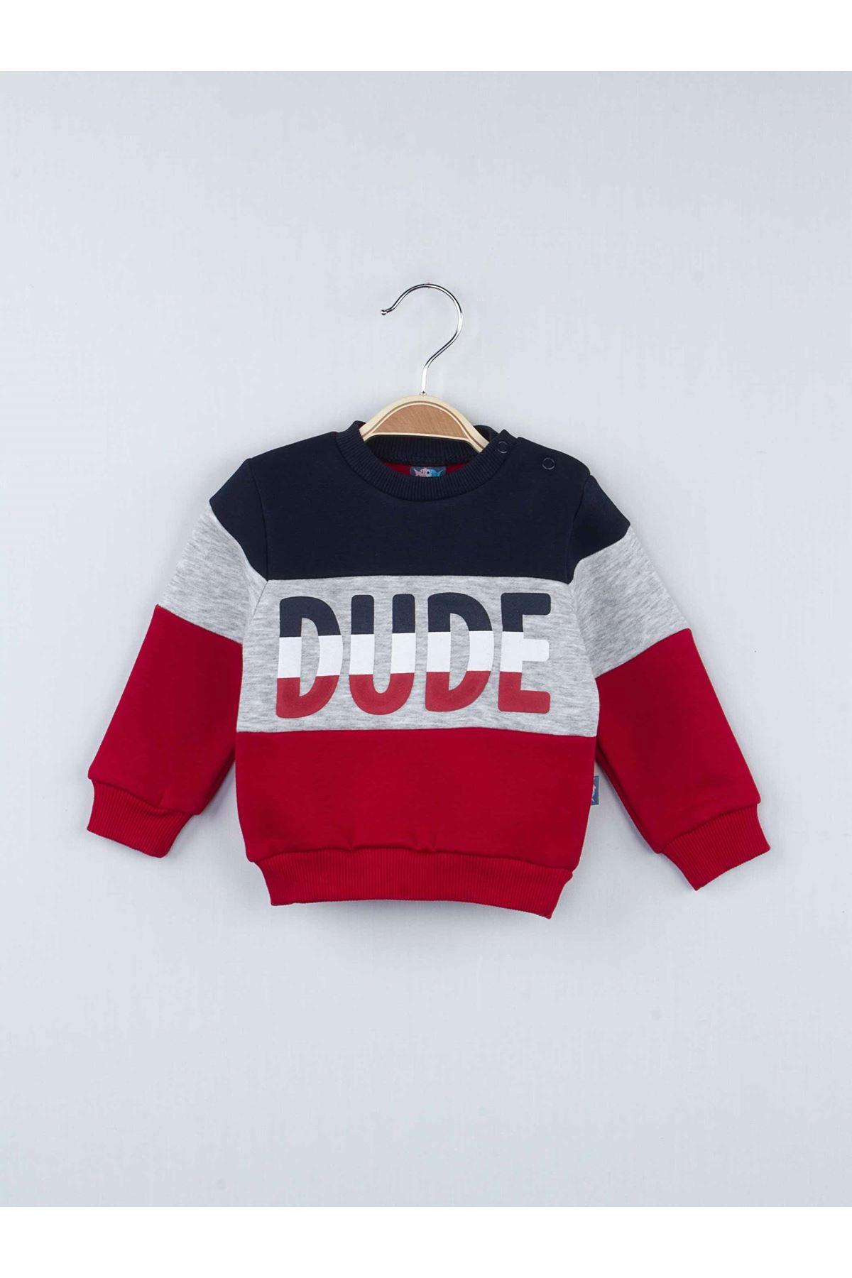 Kırmızı Kışlık Erkek Bebek 2 li Takım