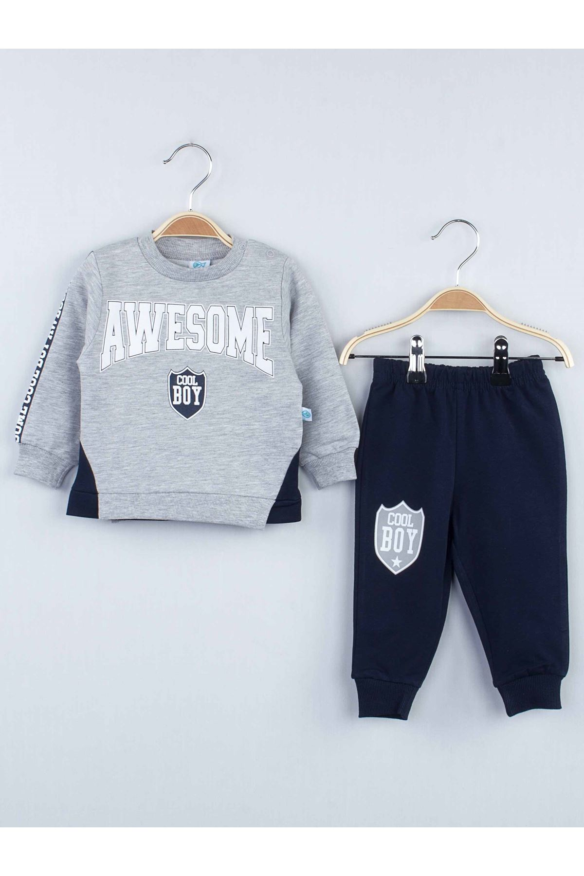 Gray Seasonal Male Baby 2 Piece Suit