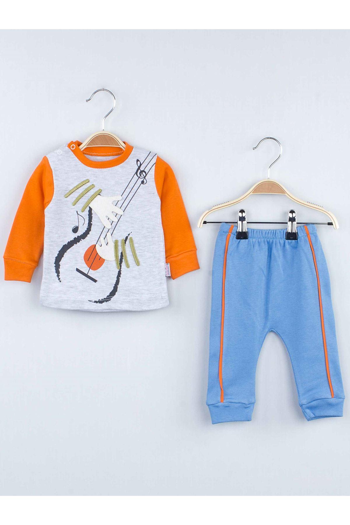 Turuncu Mevsimlik Erkek Bebek  2 li Takım