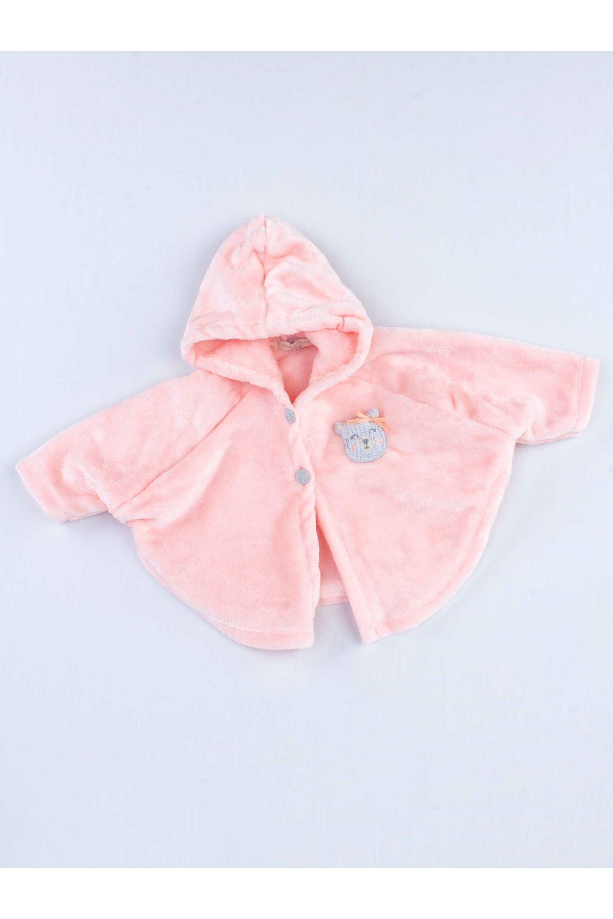 Pudra Pelerinli Peluş Kız Bebek Kapüşonlu 3 lü Takım