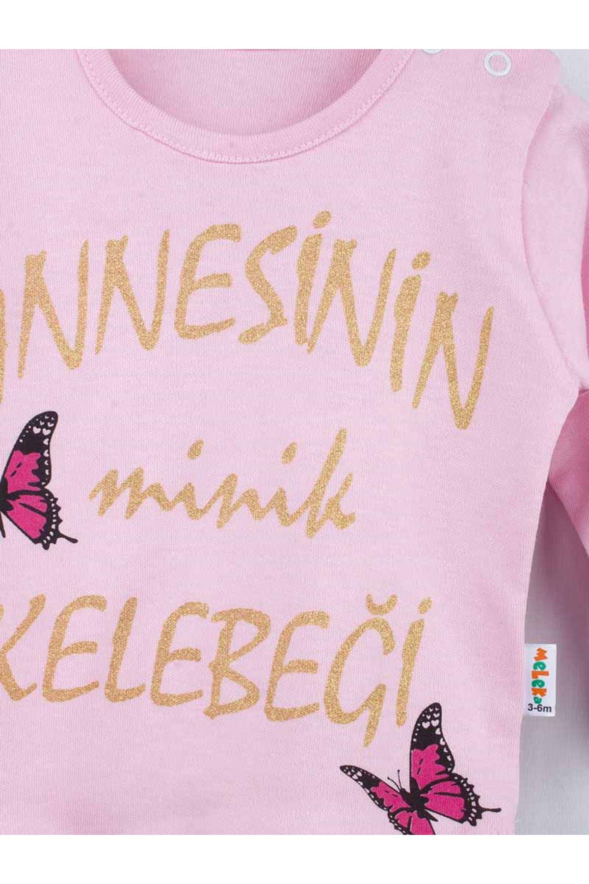 Pembe Mevsimlik Annesinin Minik Kelebeği Kız Bebek 2 li Takım