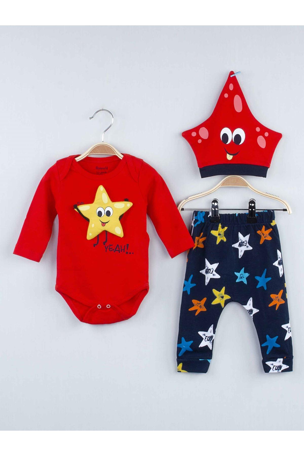 Kırmızı Mevsimlik Erkek Bebek Badili 3 Takım