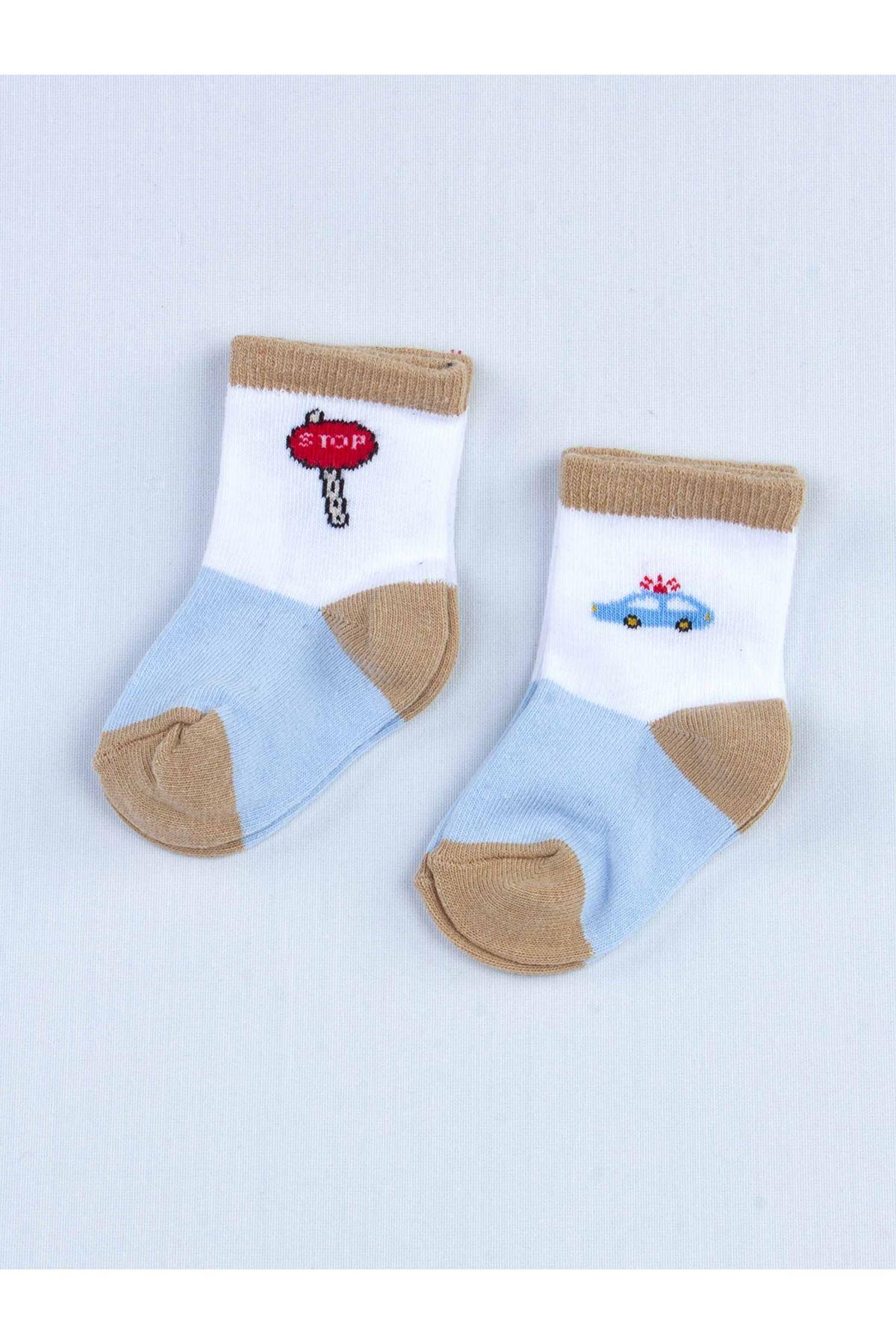 Mavi Kokulu Erkek Bebek 2 li Çorap