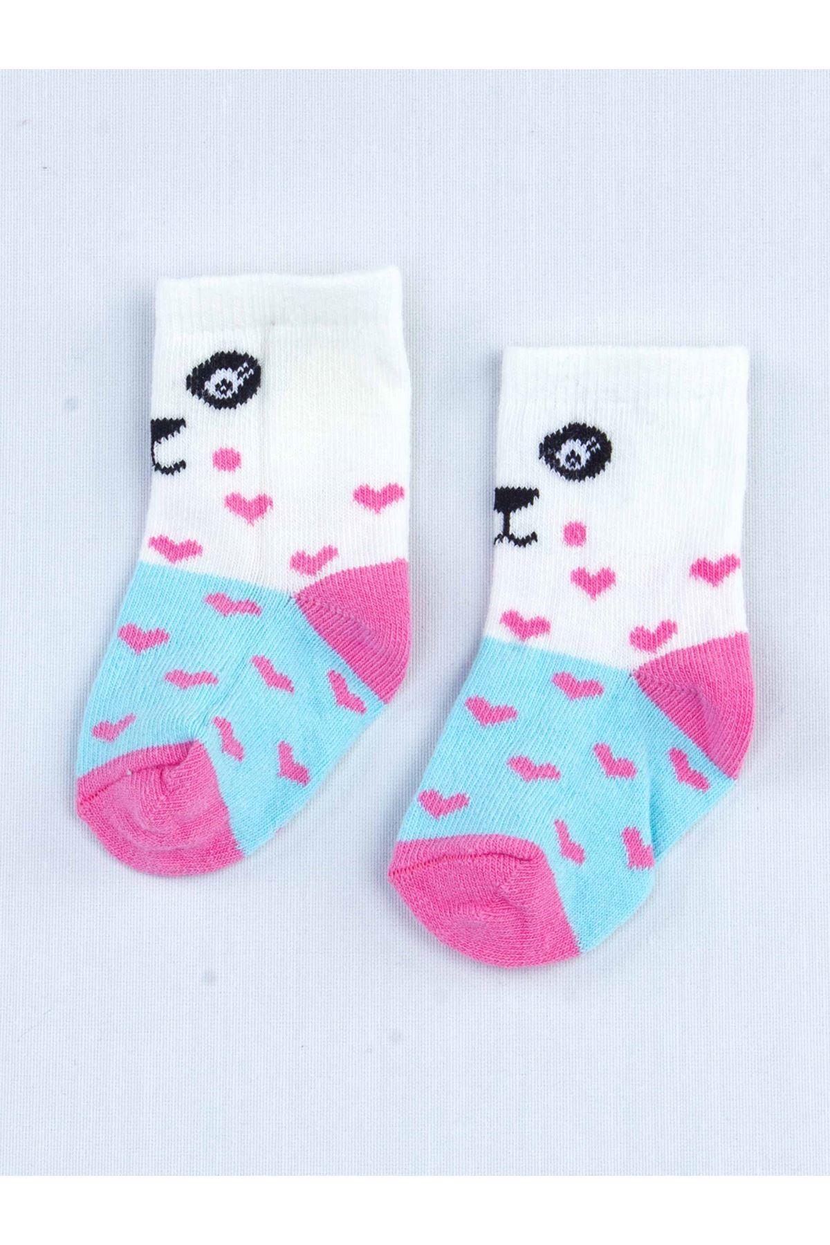 Mavi Kokulu Kız Bebek 2 li Çorap