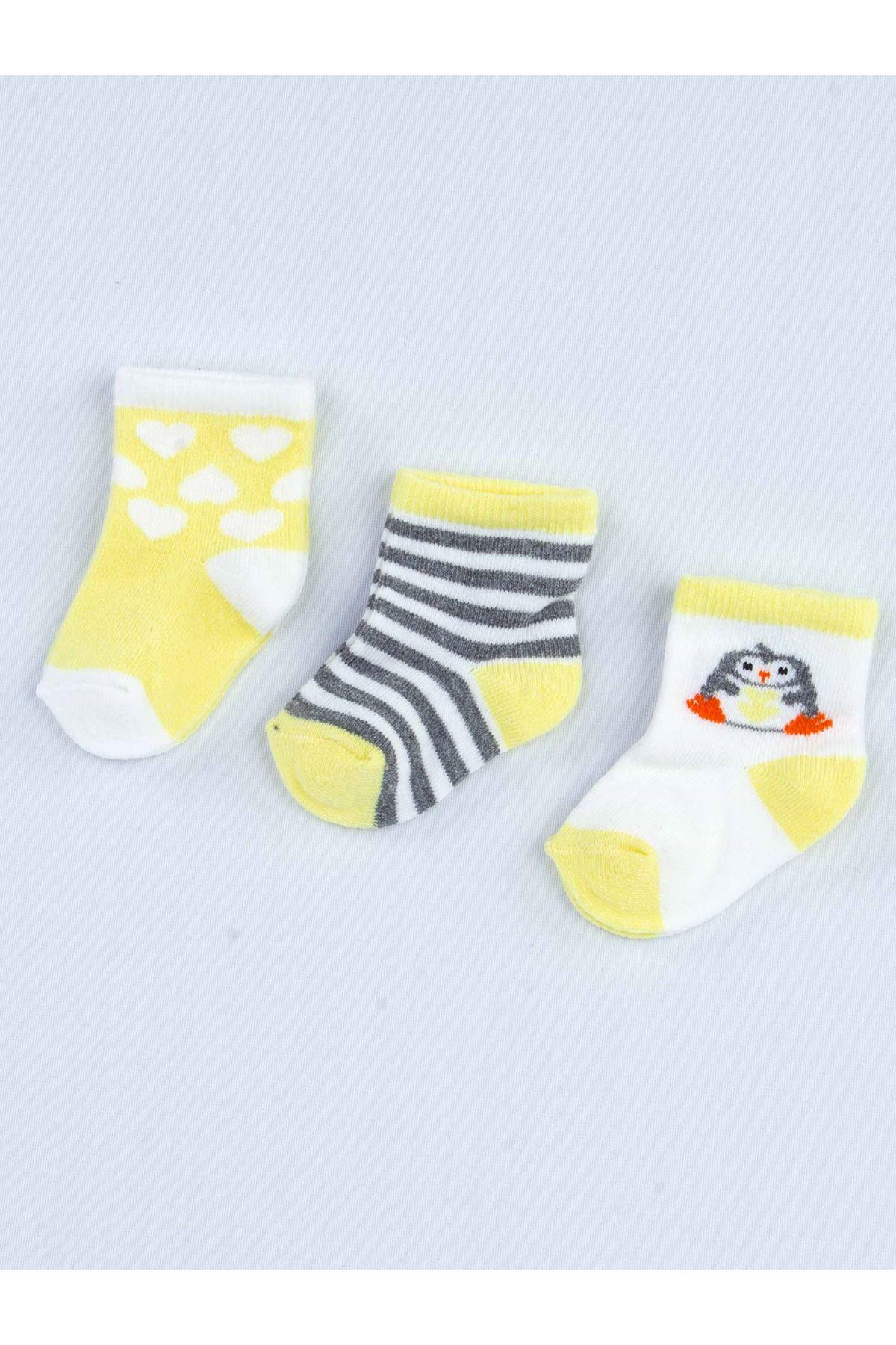 Sarı Kokulu Erkek Bebek 3 lü Çorap