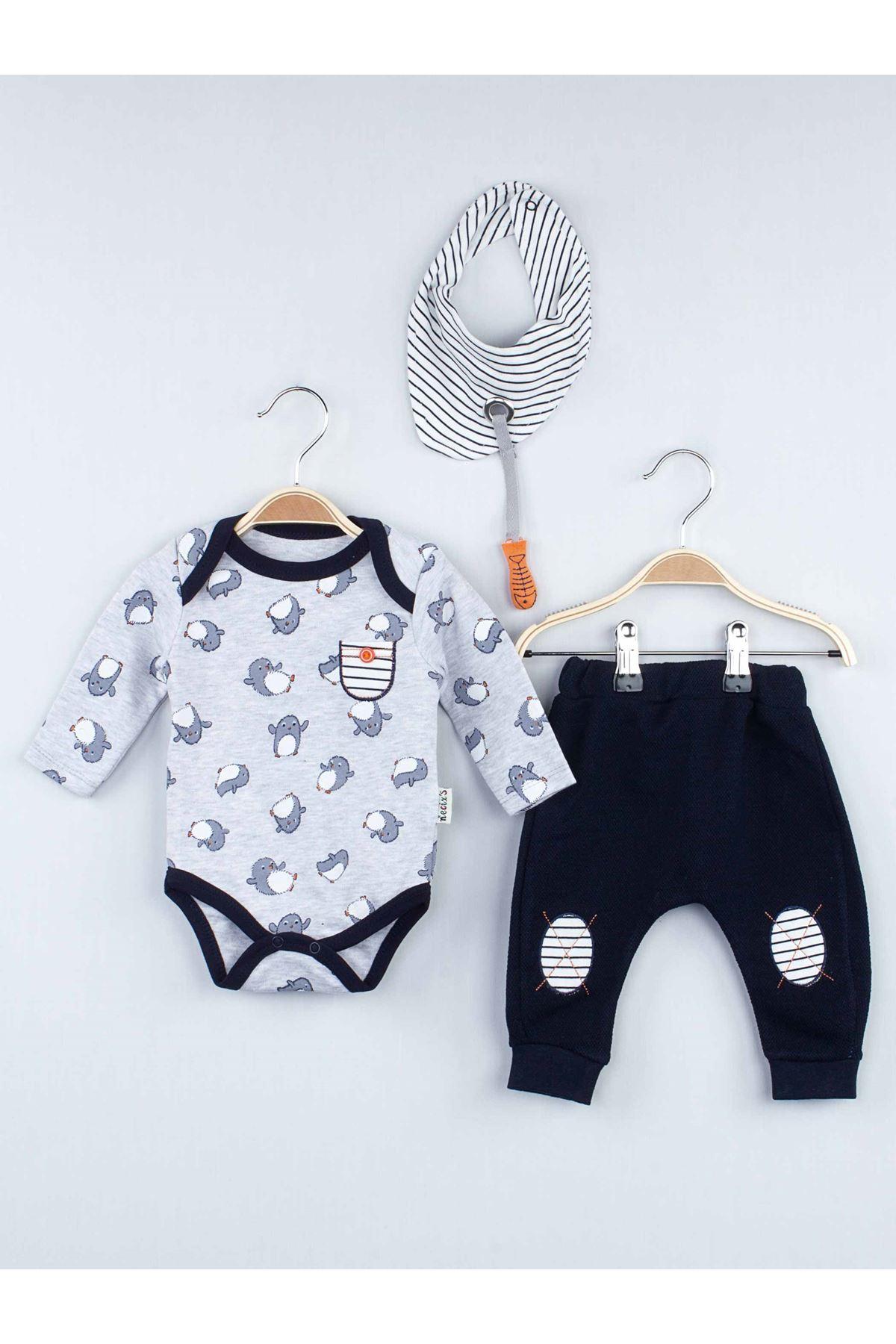 Gri Mevsimlik Erkek Bebek 3 lü Takım