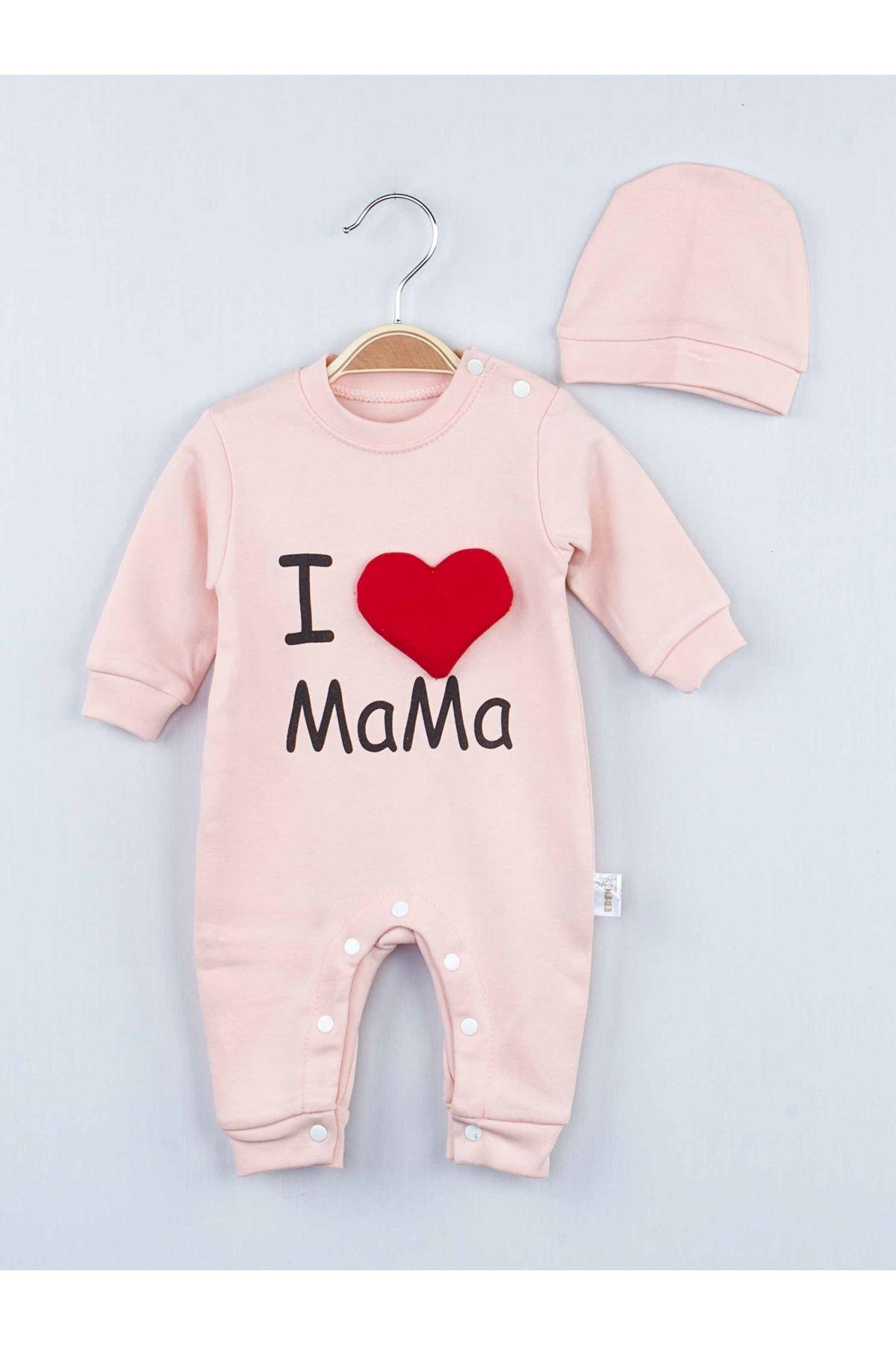 Pudra I Love Mama Kız Bebek  Tulum