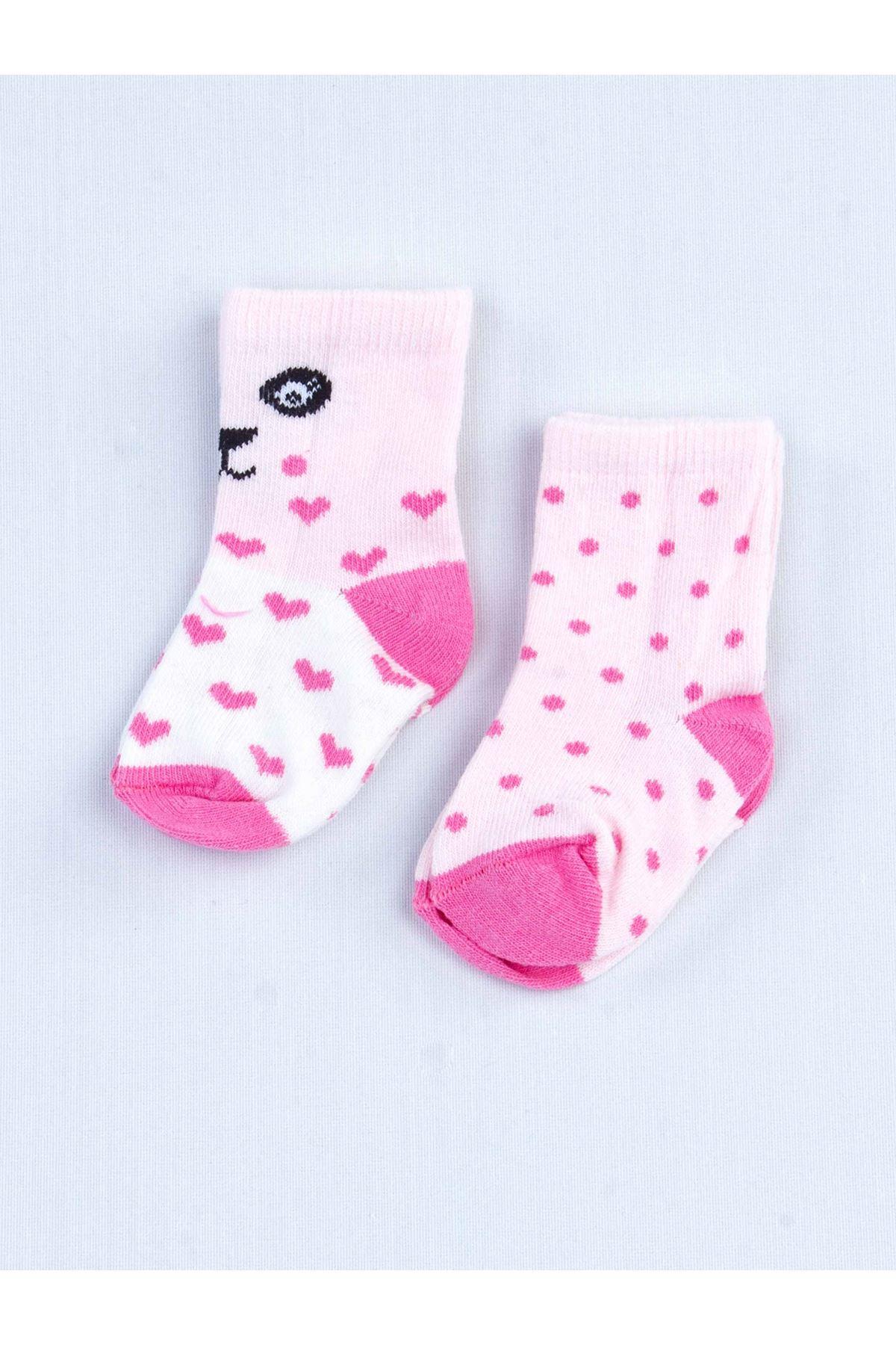 Fuşya Kokulu Kız Bebek 2 li Çorap