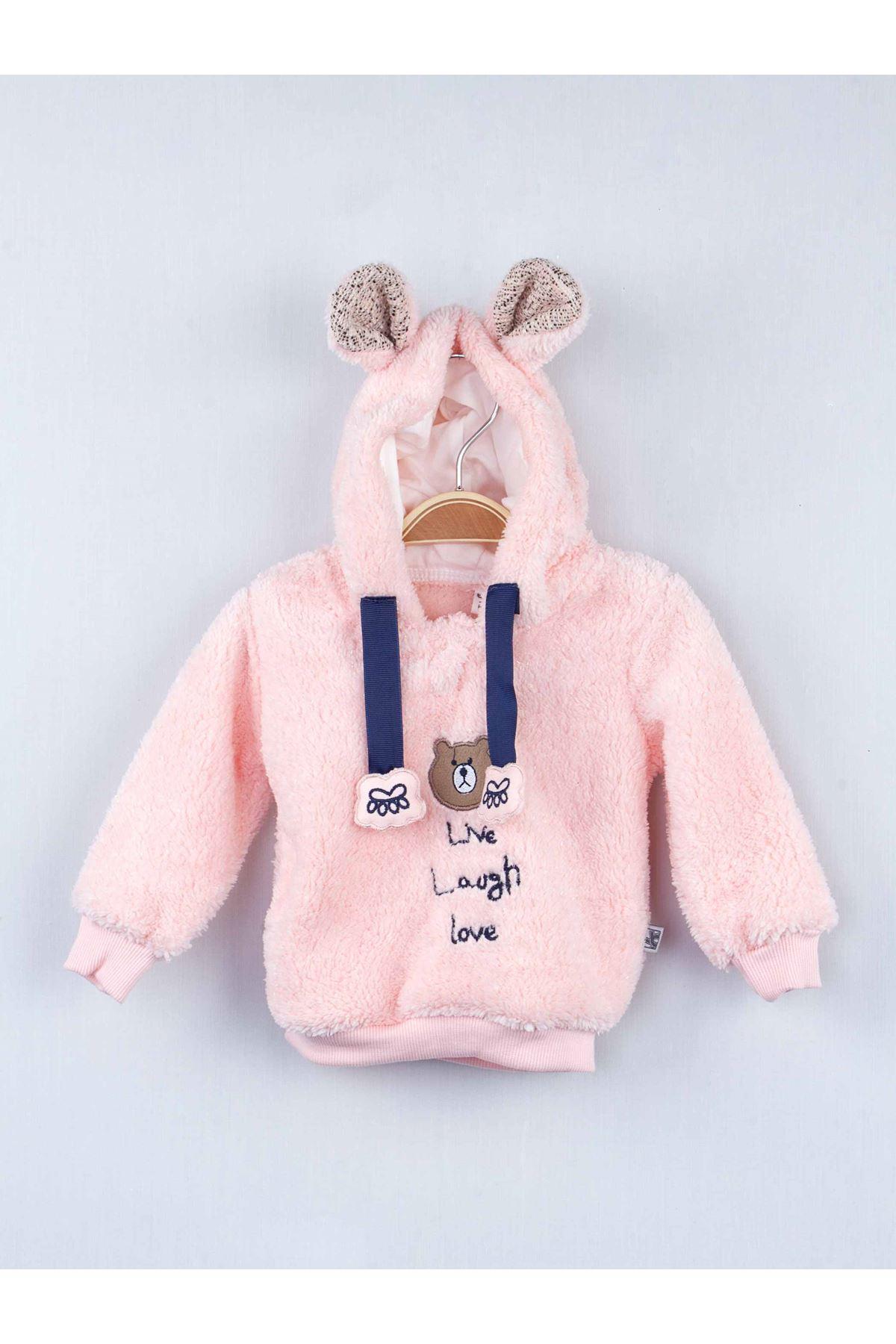 Pudra Kışlık Peluş Kapüşonlu Kız Bebek 2 li Takım