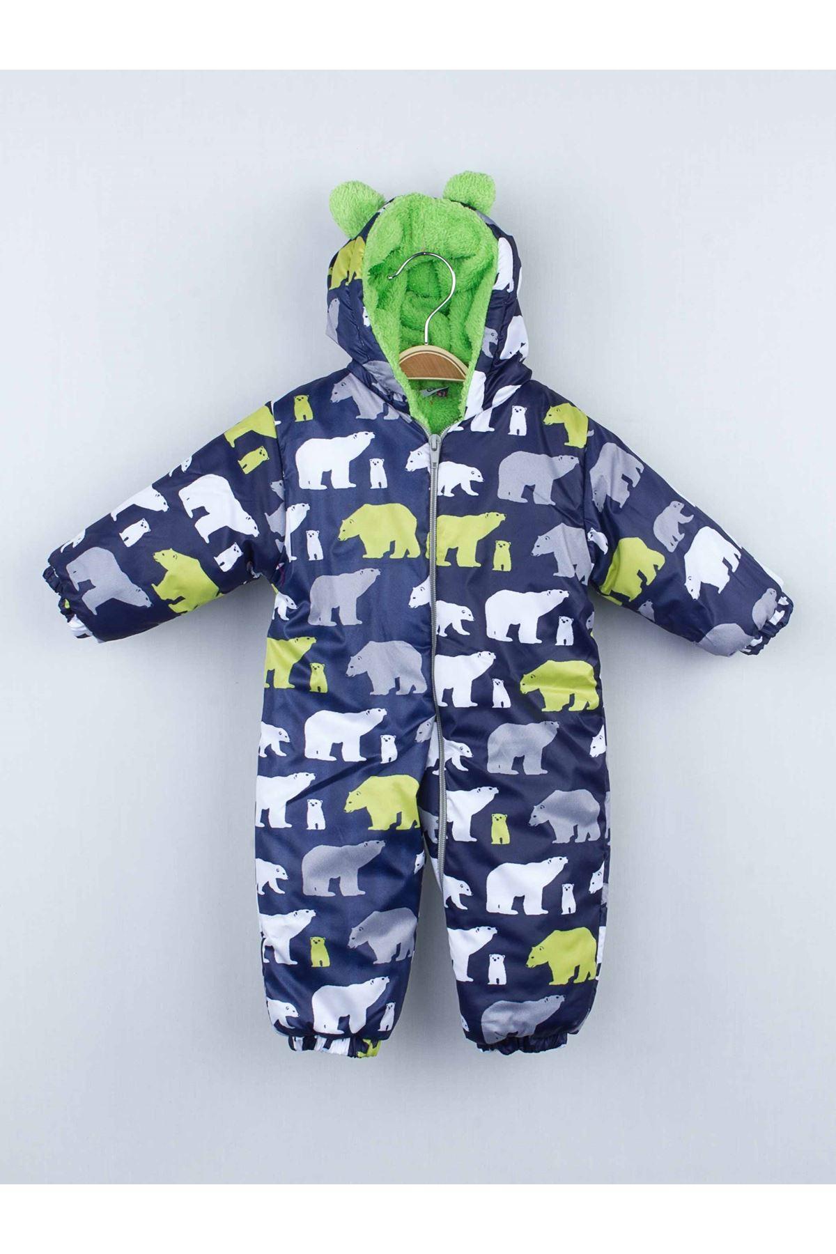 Yeşil Ayılı Kışlık Bebek Kozmonot Tulum